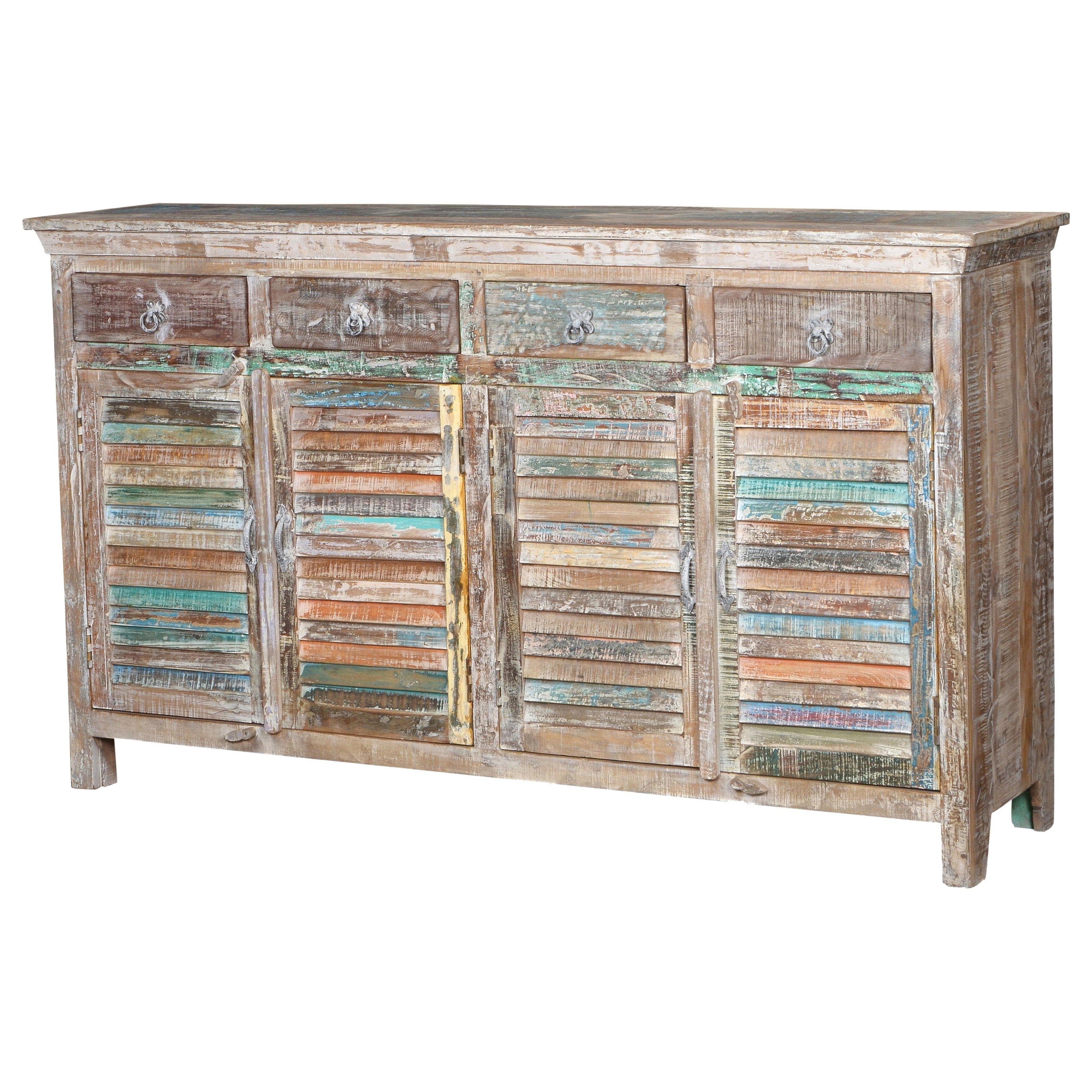 "Shop Aiden 4 Drawer 4 Door Shutter Sideboard 72"" Lime – Free Inside Newest Reclaimed Pine Turquoise 4 Door Sideboards (View 7 of 20)"