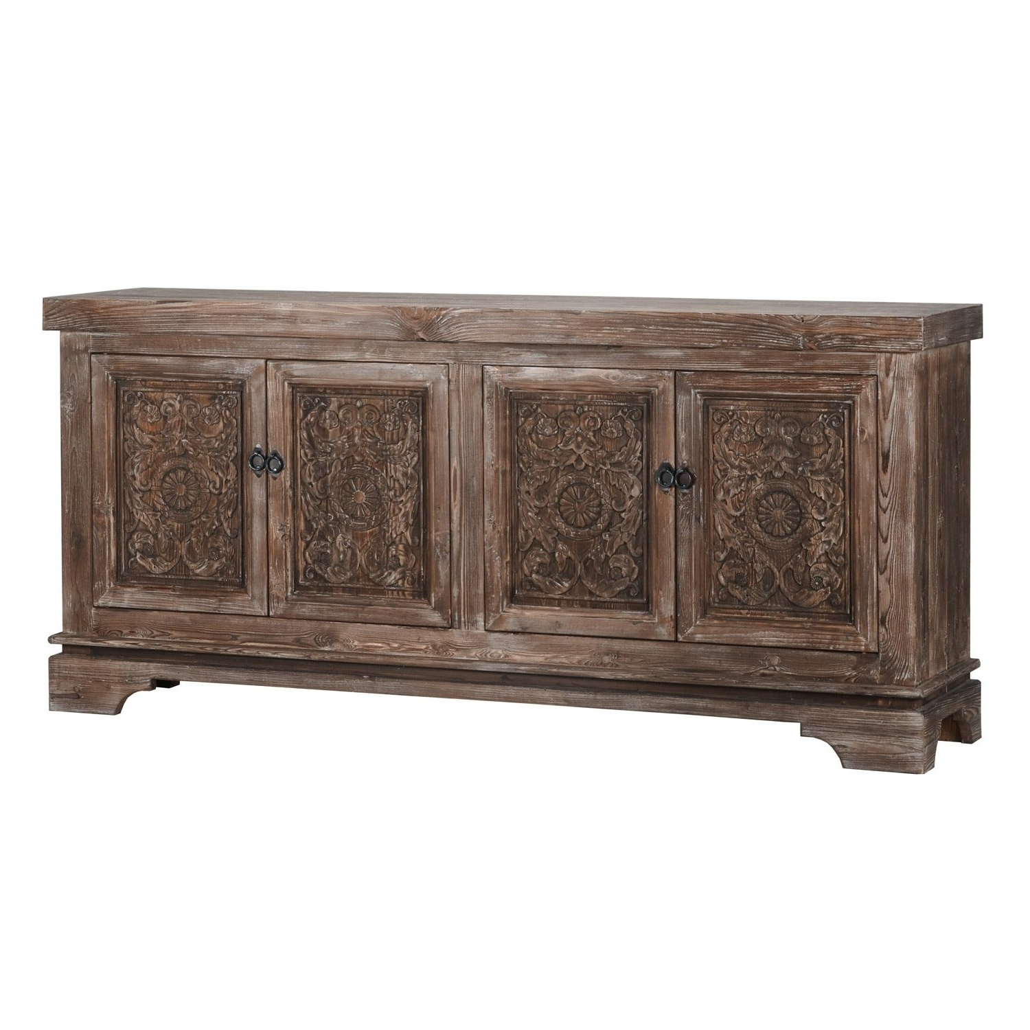 Shop Allen Rustic Brown Reclaimed Pine 82 Inch Sideboardkosas With 2018 Blue Stone Light Rustic Black Sideboards (View 13 of 20)