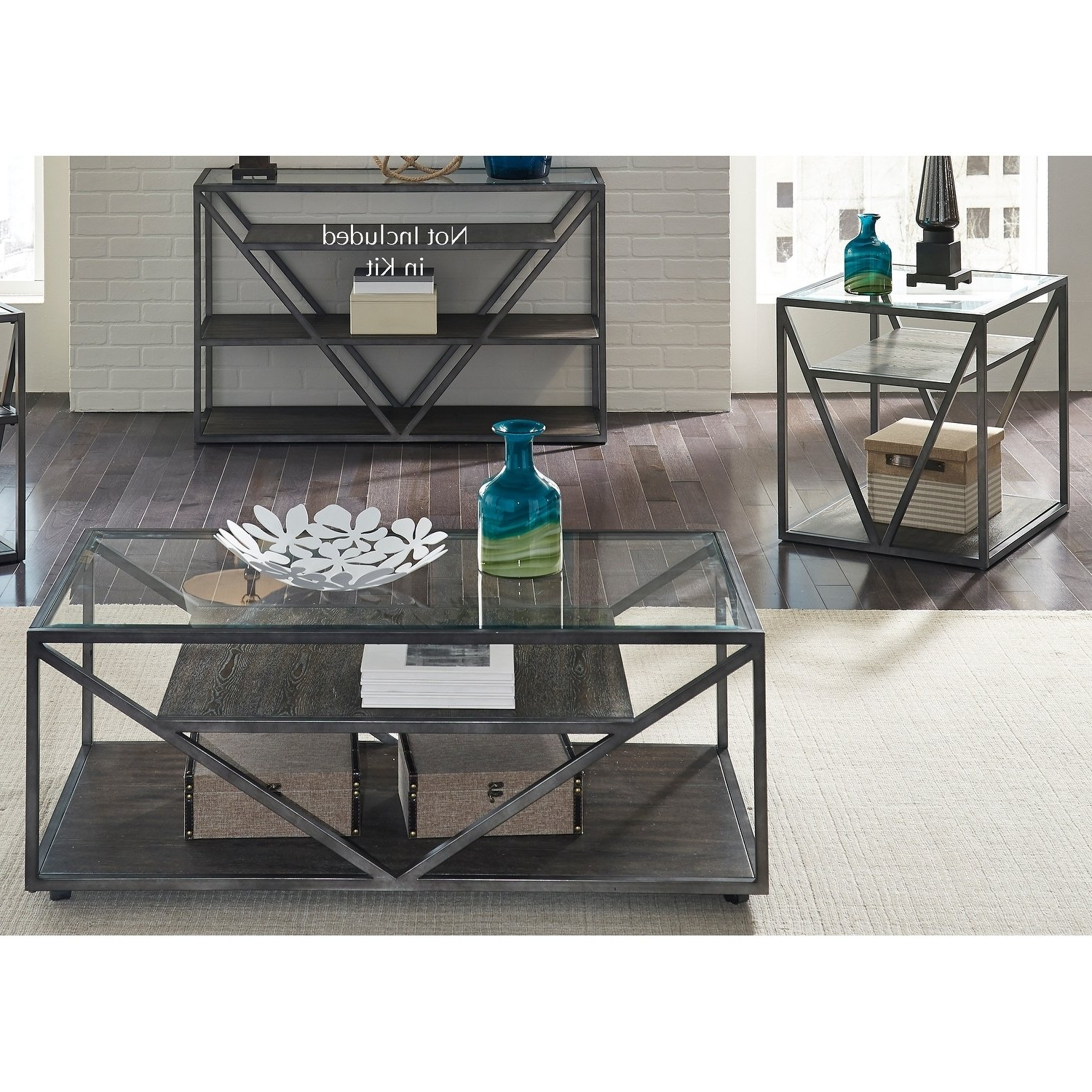 Shop Arista Cobblestone Brown And Grey Dusty Wax 3 Piece Occasional Within Fashionable Waxed Metal Coffee Tables (Gallery 13 of 20)