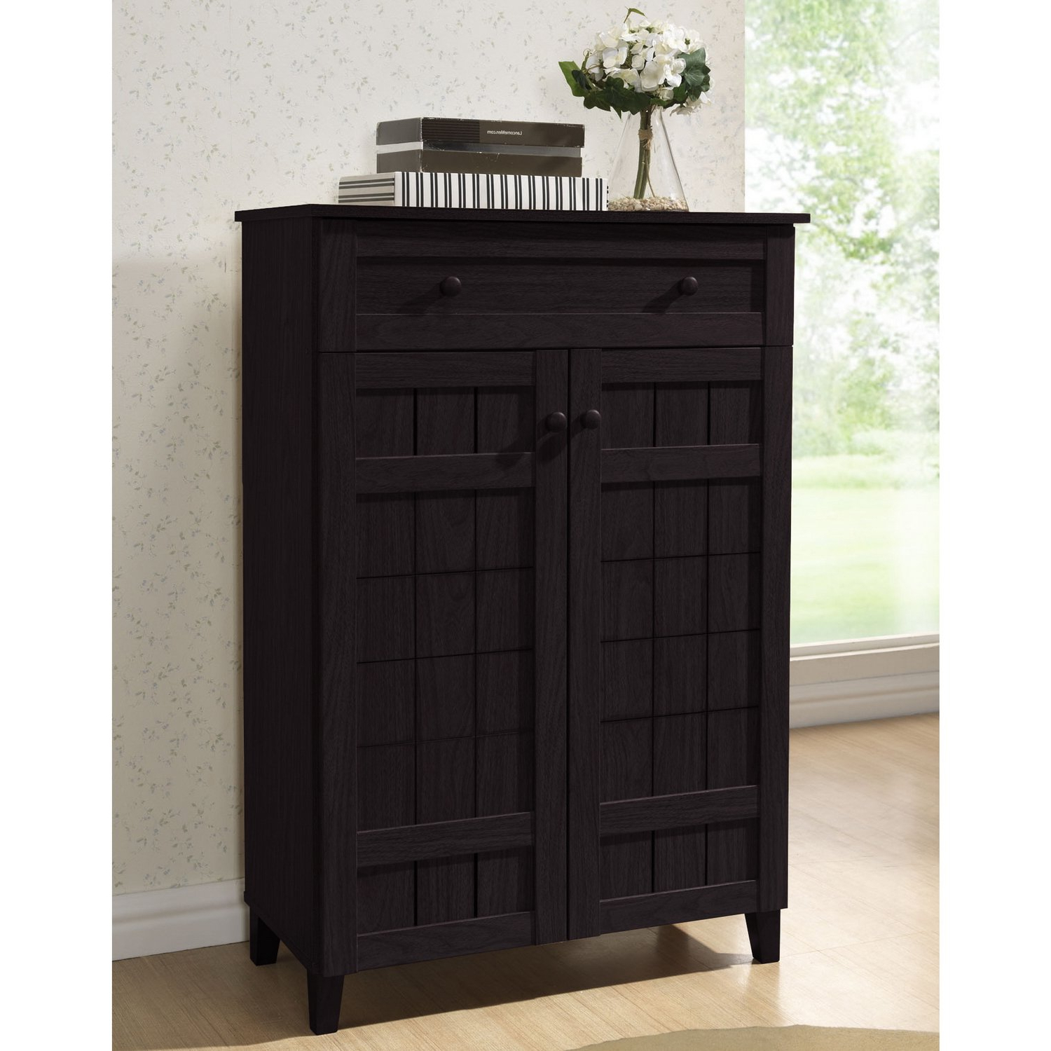 Shop Baxton Studio Glidden Dark Brown Wood Tall Modern Shoe Cabinet In Preferred Marbled Axton Sideboards (View 3 of 20)