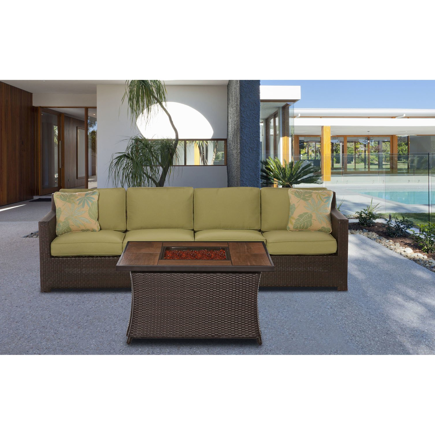 Shop Cambridge Haven 3 Piece Loveseat Set With Woven Fire Pit In Intended For Well Liked Haven Blue Steel 3 Piece Sectionals (View 17 of 20)