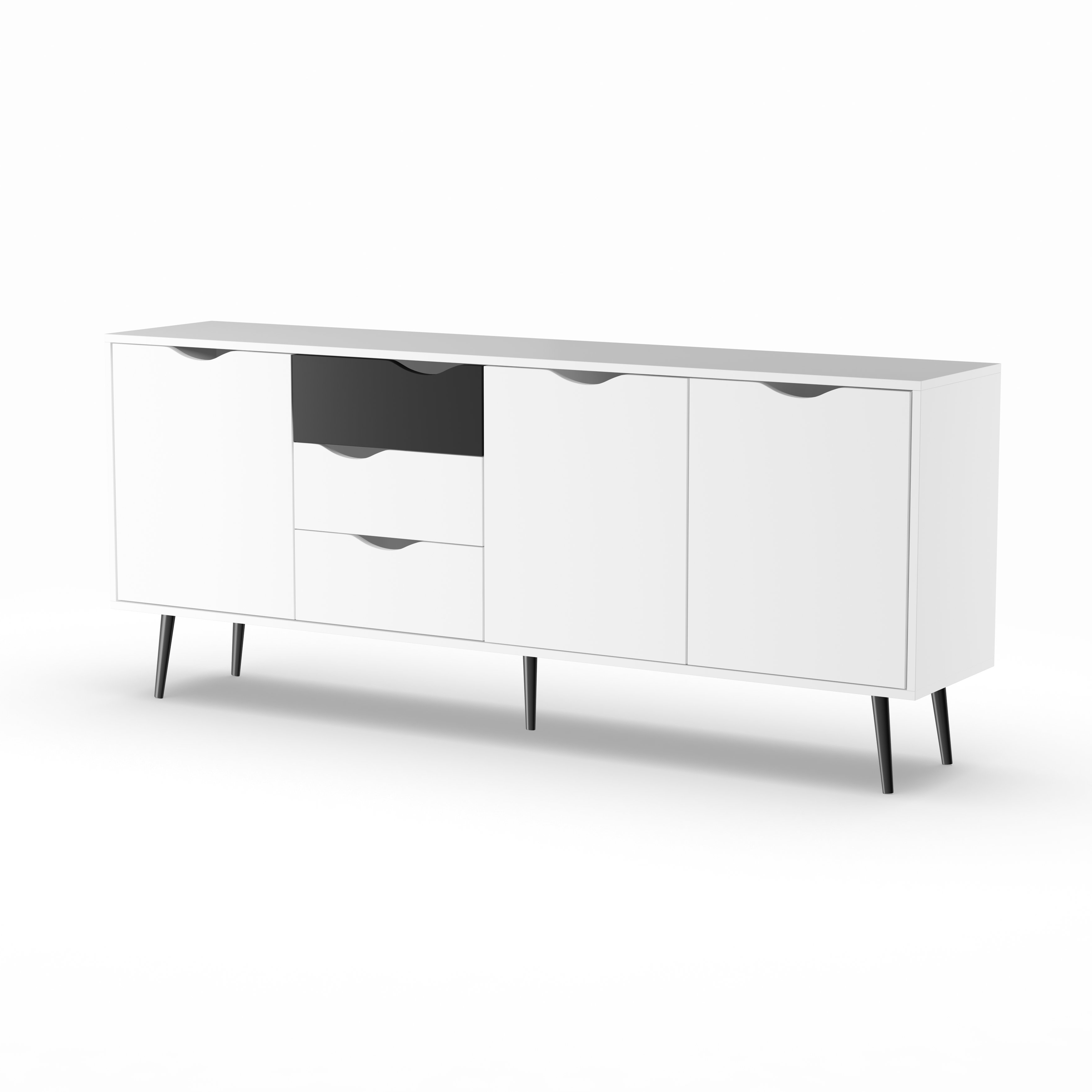 Shop Carson Carrington Kristiansund White And Matte Black 3 Drawer 3 Regarding Well Known Antique White Distressed 3 Drawer/2 Door Sideboards (View 18 of 20)
