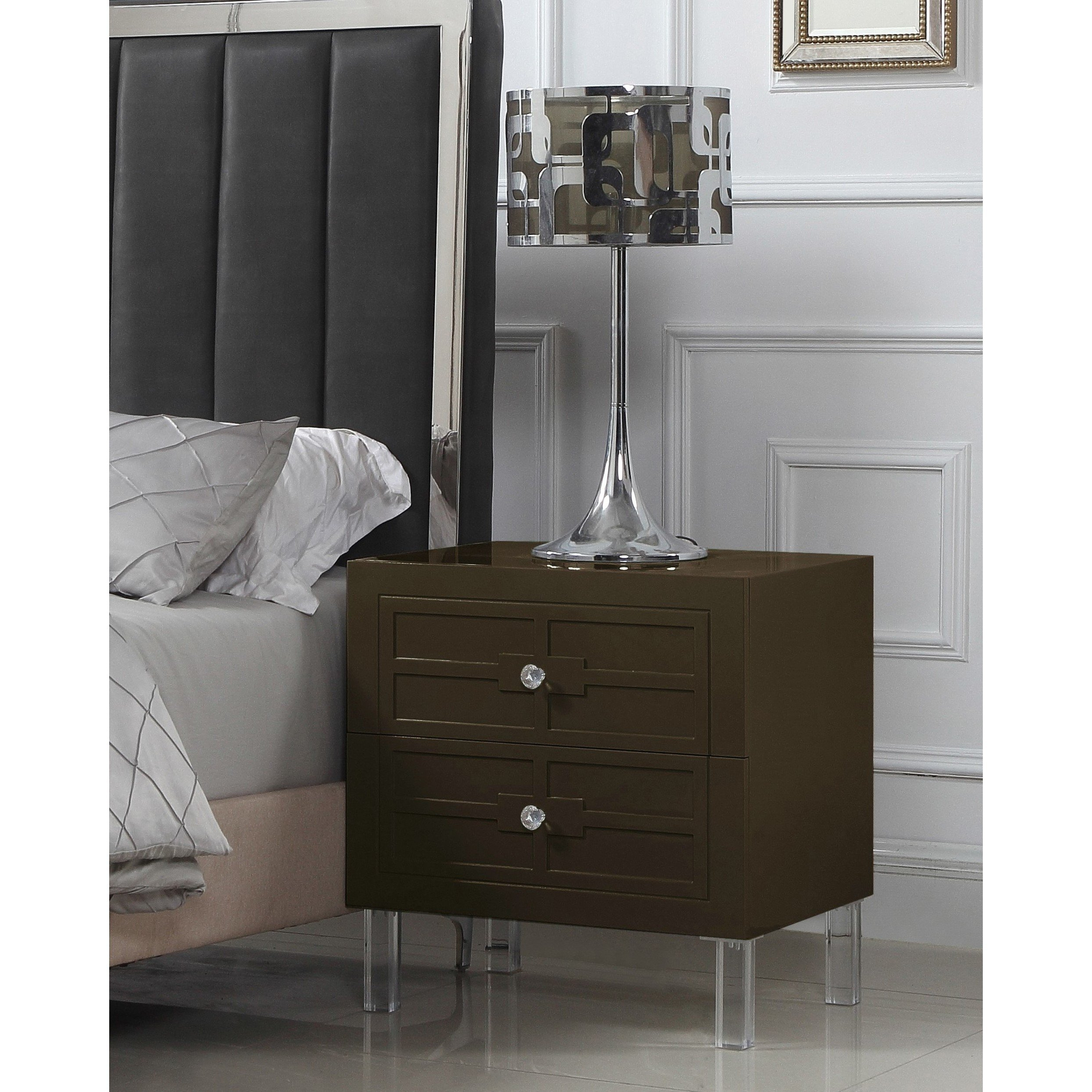 Shop Chic Home Lucca Nightstand Side Table With Soft Closing Drawers Regarding Recent Geo Faceted Coffee Tables (View 17 of 20)