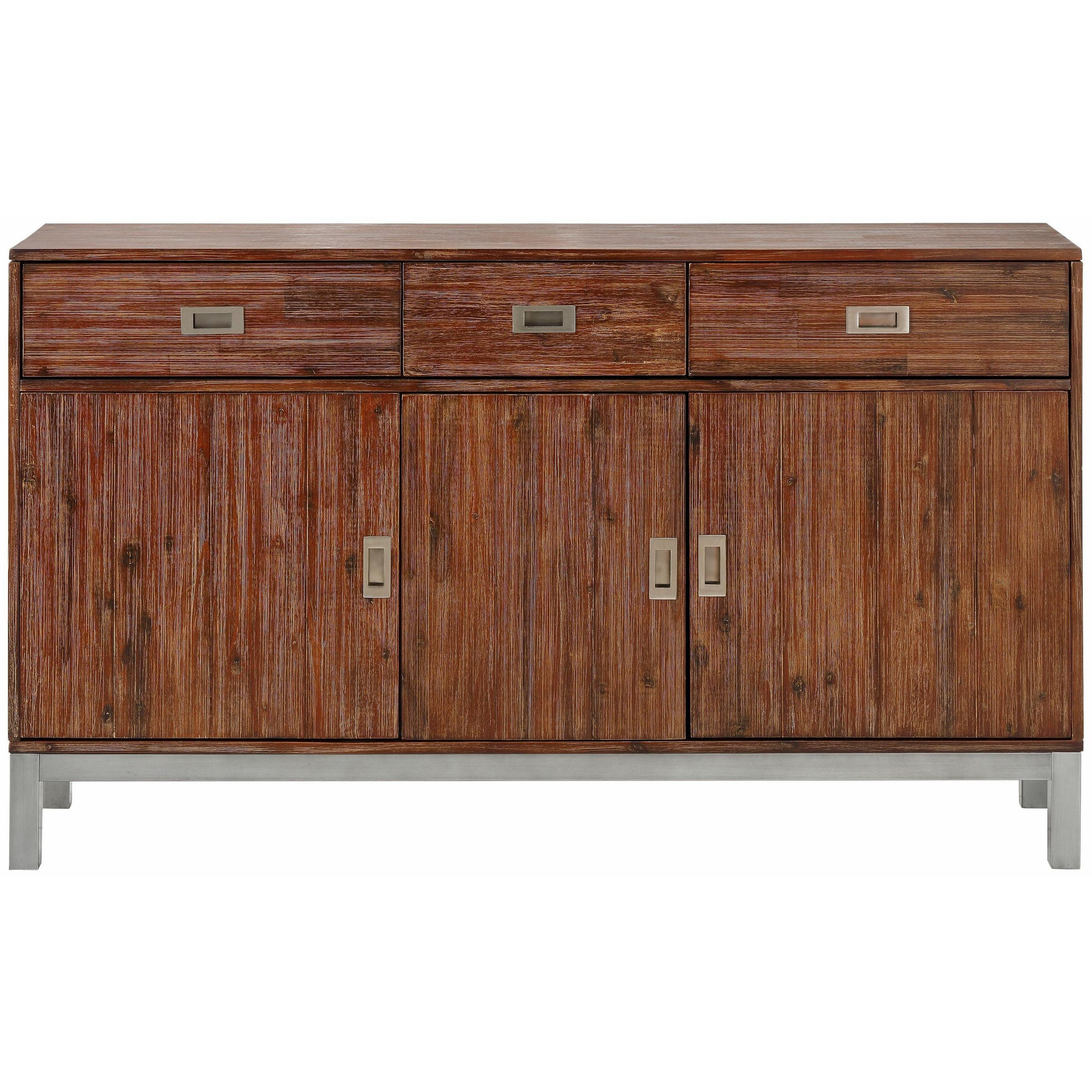 Shop Congo Acacia Wood And Metal Sideboard With 3 Doors And 3 With Current Acacia Wood 4 Door Sideboards (View 2 of 20)