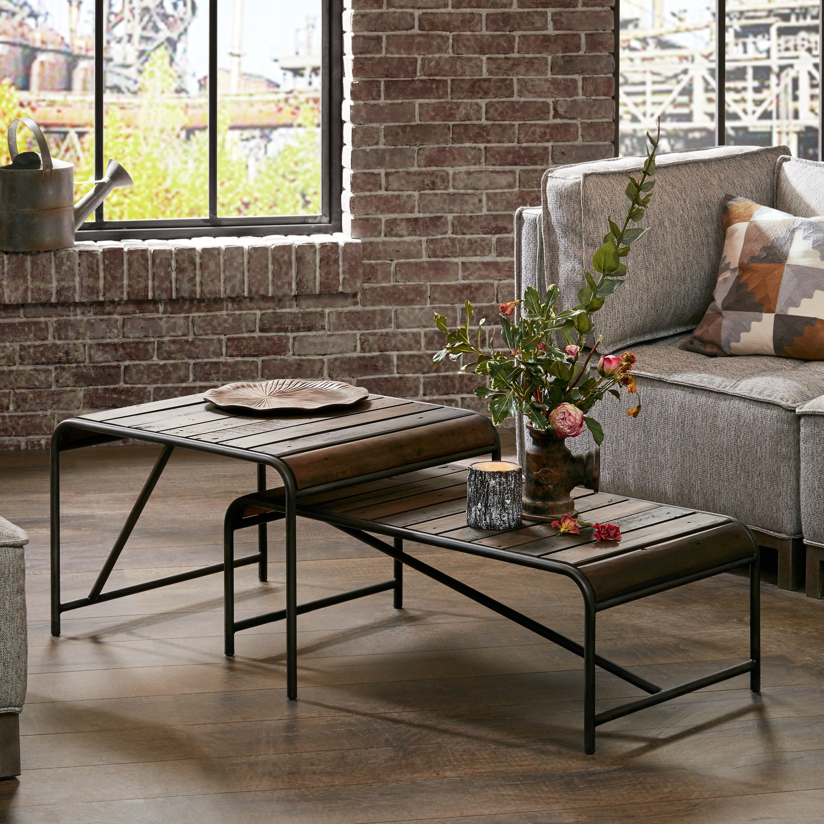 Shop Everett Reclaimed Wood Coffee Table With Gunmetal Frame – Free Regarding 2018 Stately Acrylic Coffee Tables (View 8 of 20)