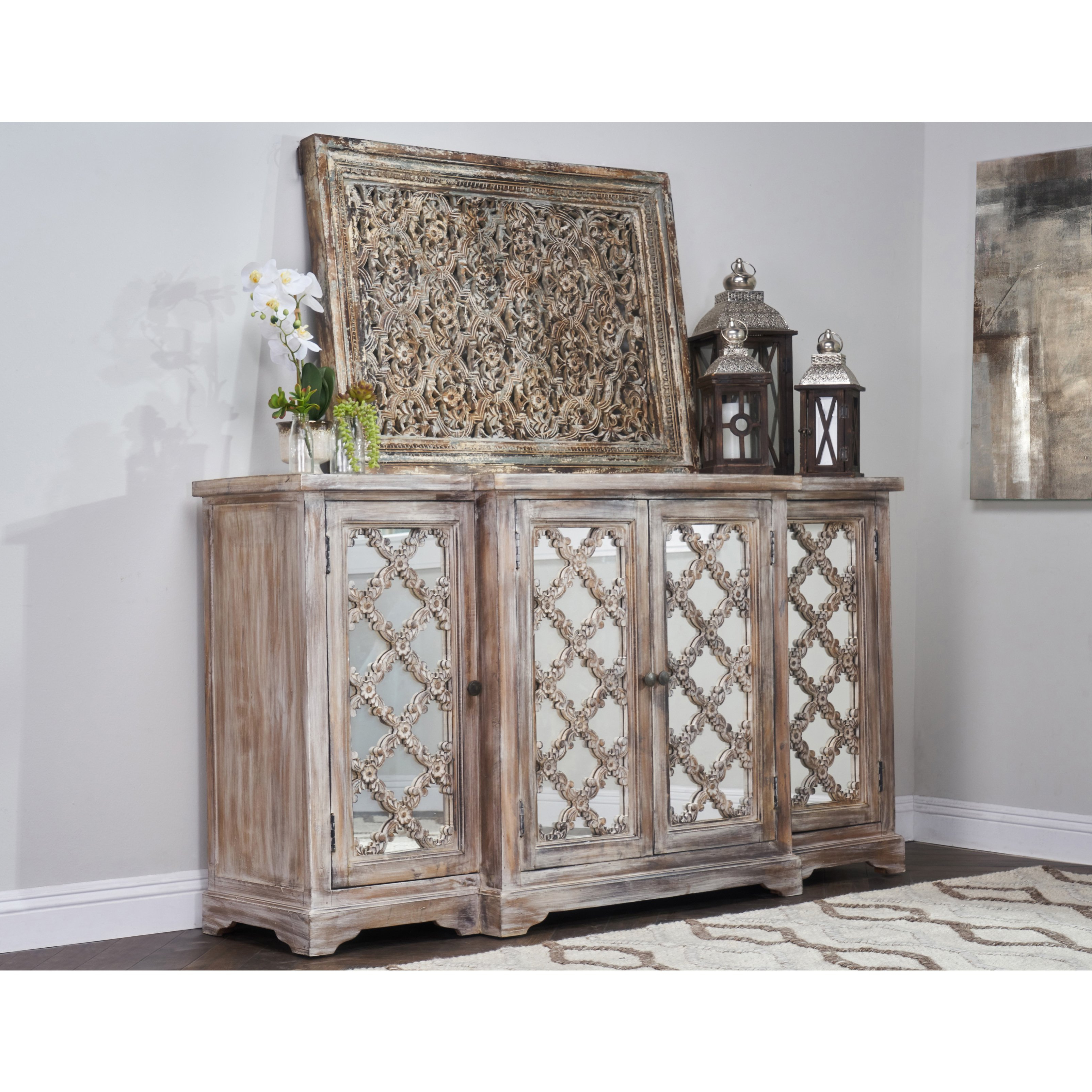 Shop Franklin Rustic Brown Wood Mirrored 71 Inch Sideboardkosas Throughout Most Recent Aged Mirrored 2 Door Sideboards (View 4 of 20)