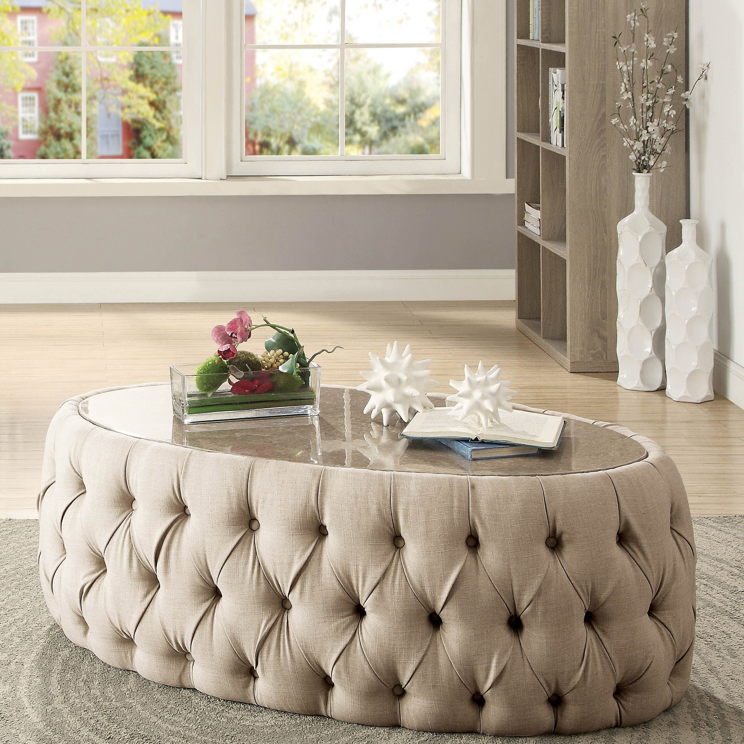 Shop Furniture Of America Elise Faux Marble Button Tufted Oval Inside Preferred Button Tufted Coffee Tables (Gallery 10 of 20)
