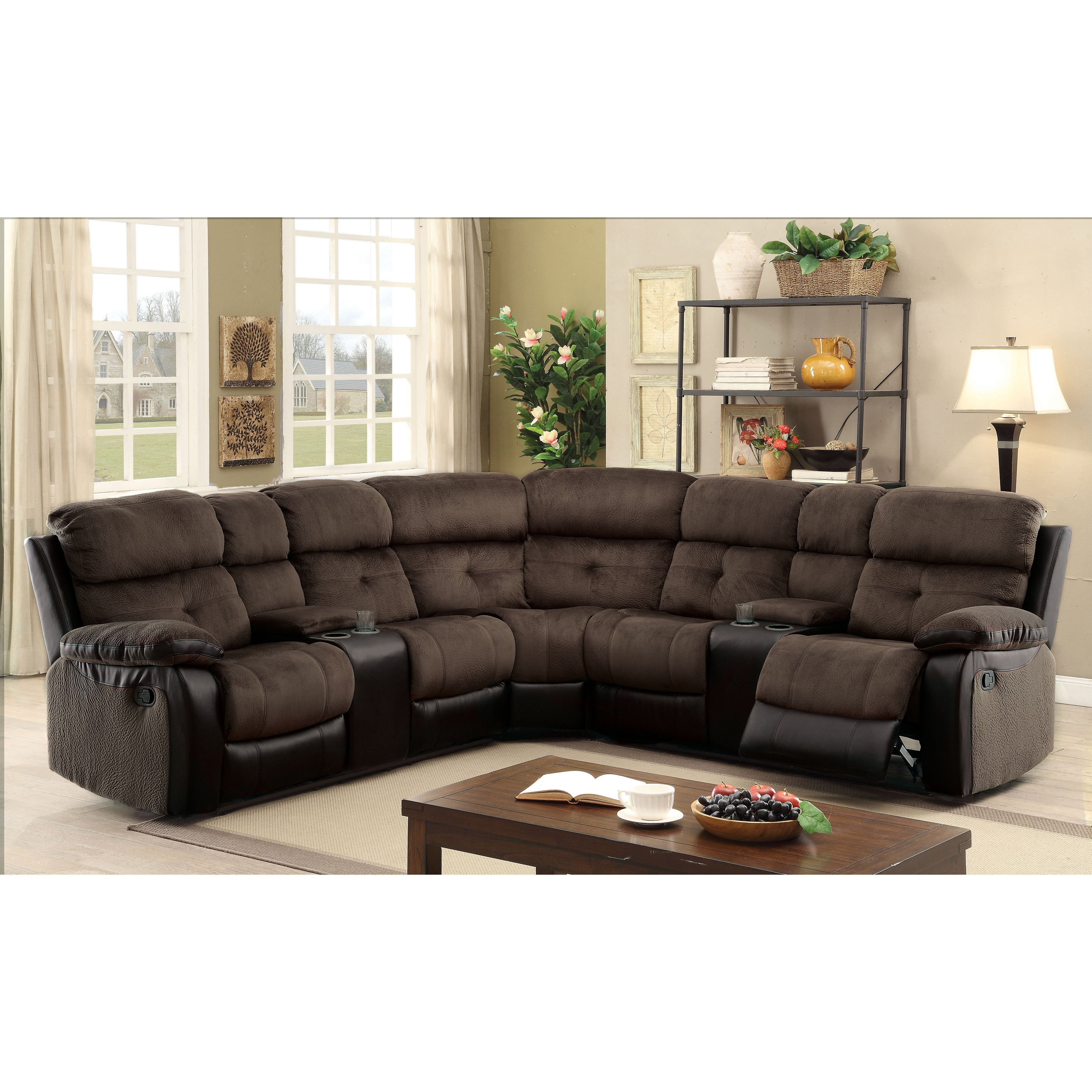 Shop Furniture Of America Fawnie Two Tone L Shaped Reclining Throughout Preferred Haven Blue Steel 3 Piece Sectionals (View 11 of 20)