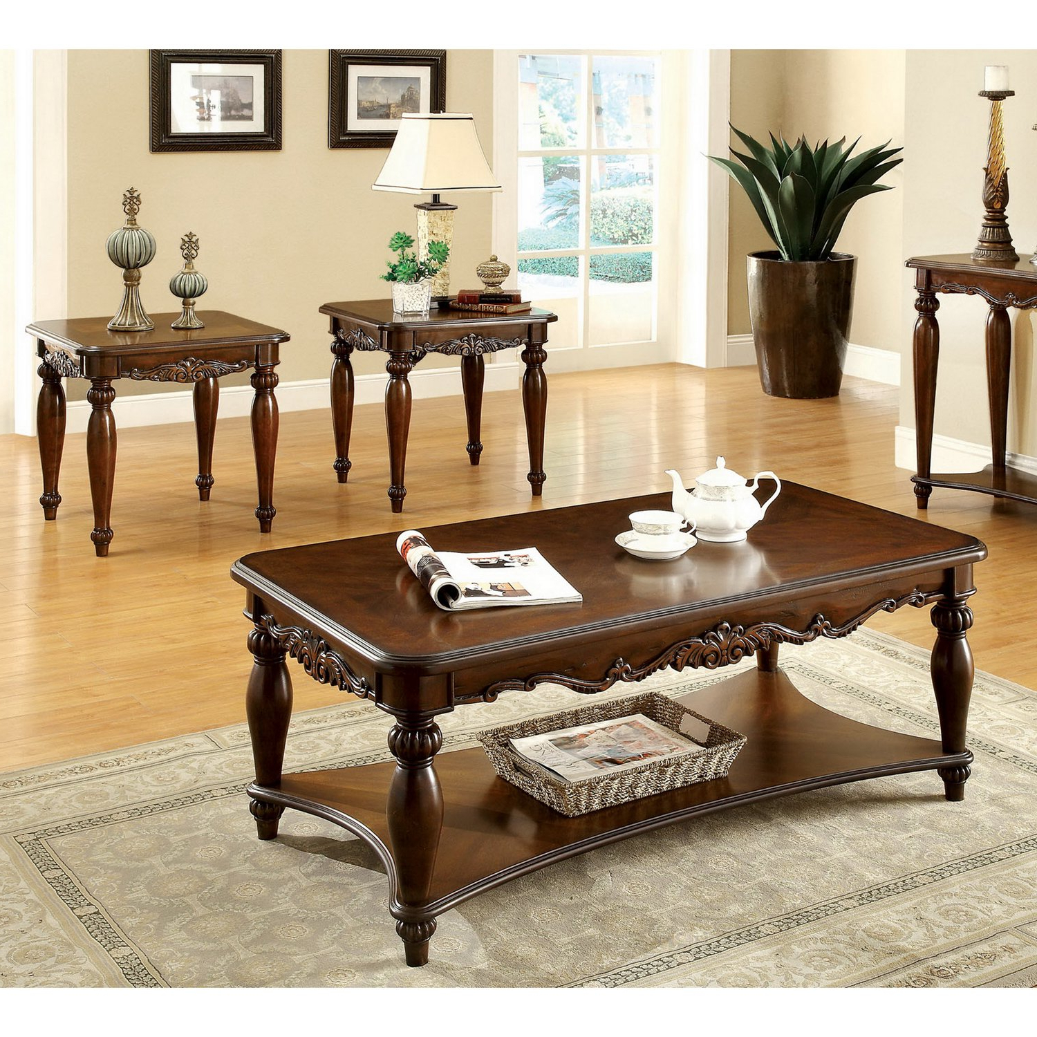 Shop Furniture Of America 'macelli' 3 Piece Cherry Finished For Well Liked Traditional Coffee Tables (Gallery 20 of 20)