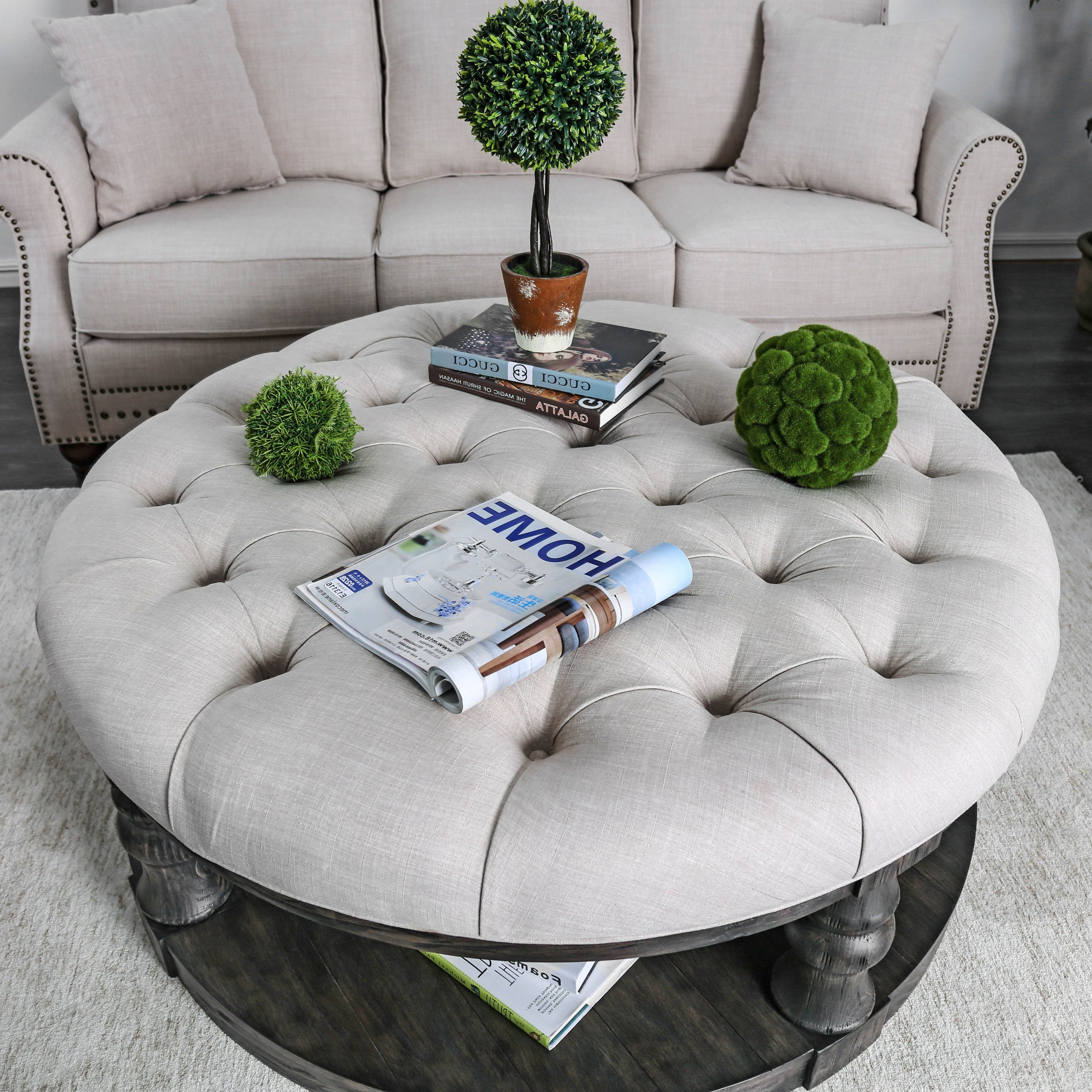 Shop Furniture Of America Patterson Rustic Button Tufted Coffee Regarding Popular Button Tufted Coffee Tables (Gallery 4 of 20)