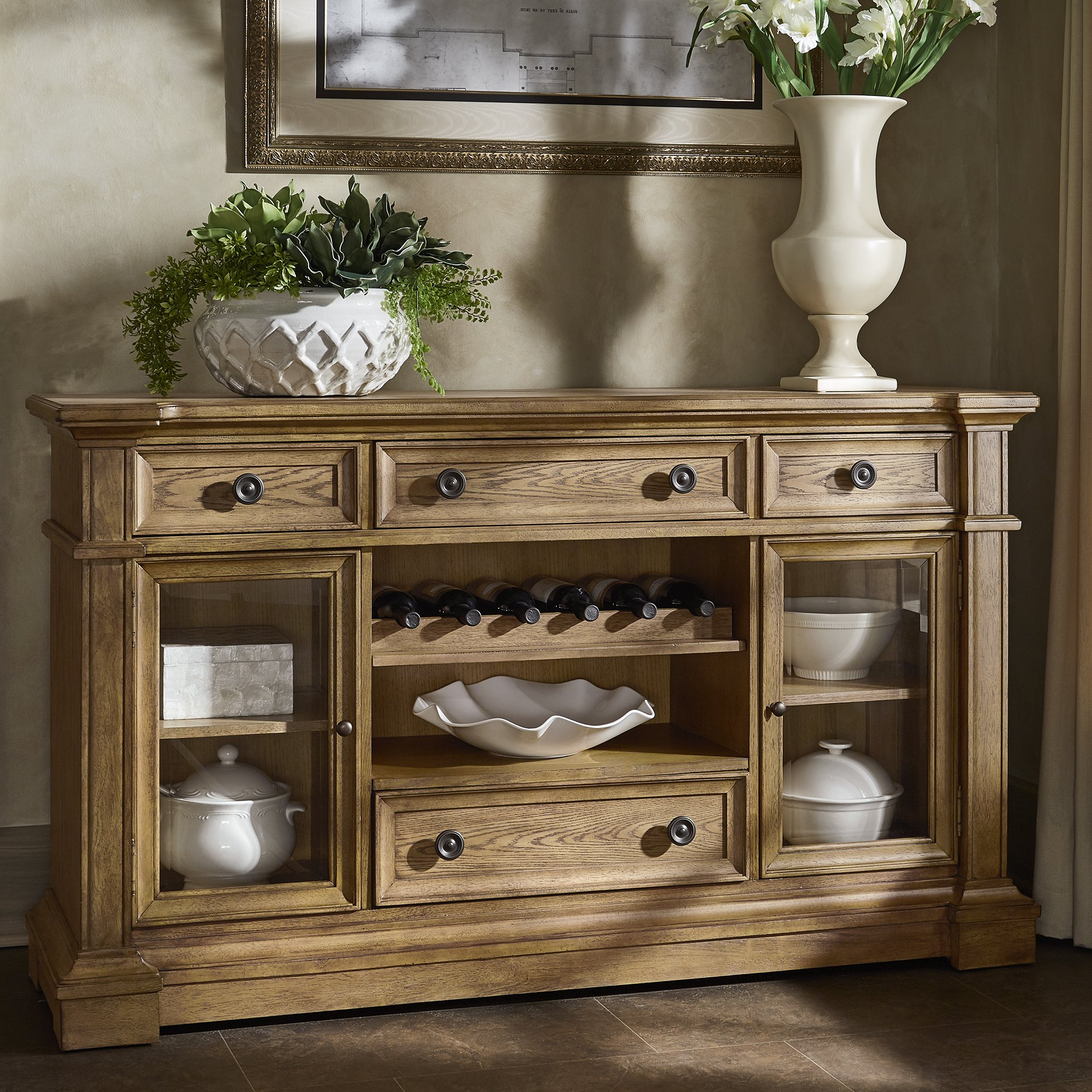 Shop Gilderoy Natural Oak Finish Buffetinspire Q Artisan – On With Most Up To Date Corrugated Natural 4 Drawer Sideboards (View 13 of 20)