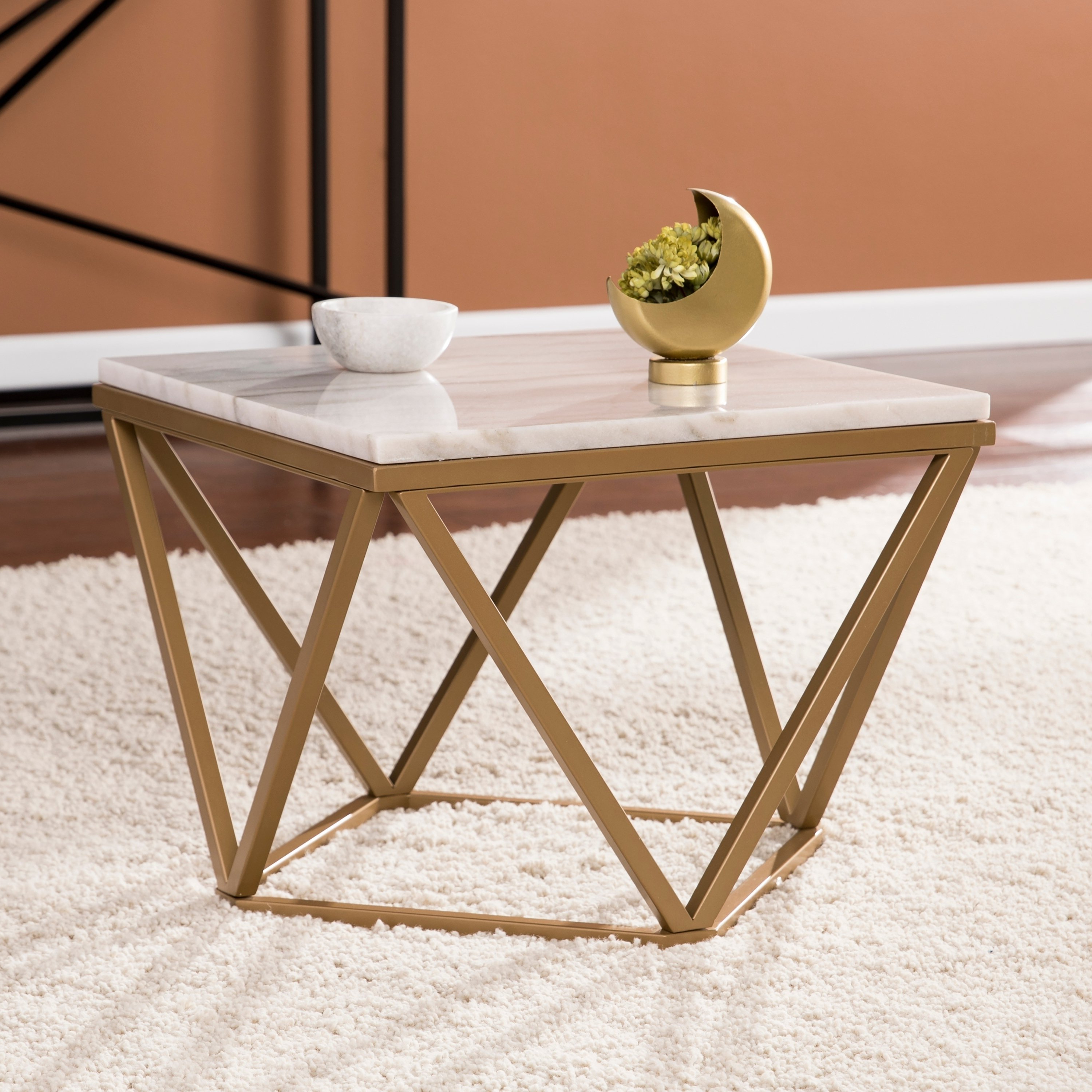 Shop Harper Blvd Markley Champagne W/ Ivory Marble Accent Table – On Inside Preferred Element Ivory Rectangular Coffee Tables (View 14 of 20)