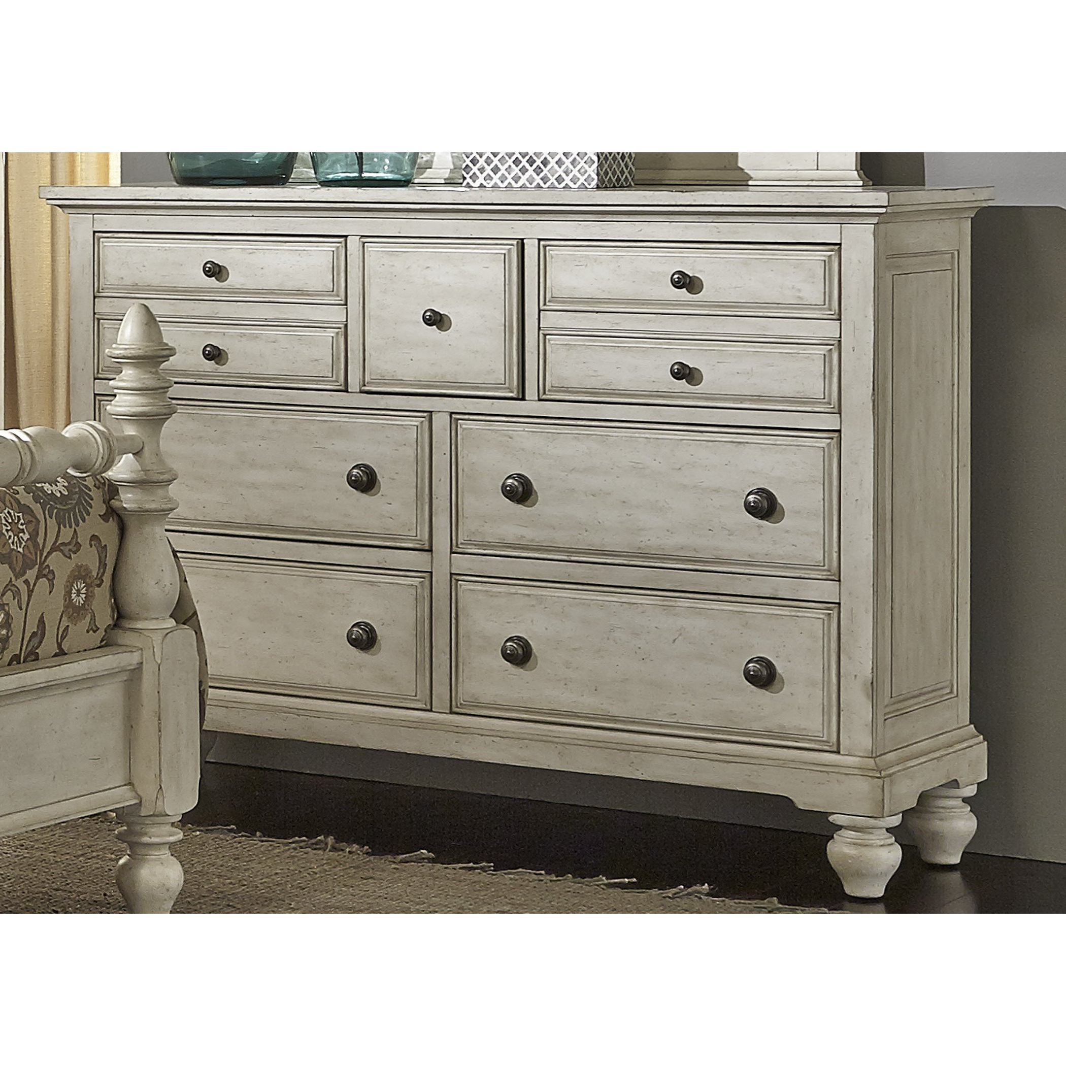 Shop High Country Pine White Washed 7 Drawer Dresser – On Sale Intended For Current Rustic Black & Zebra Pine Sideboards (View 10 of 20)