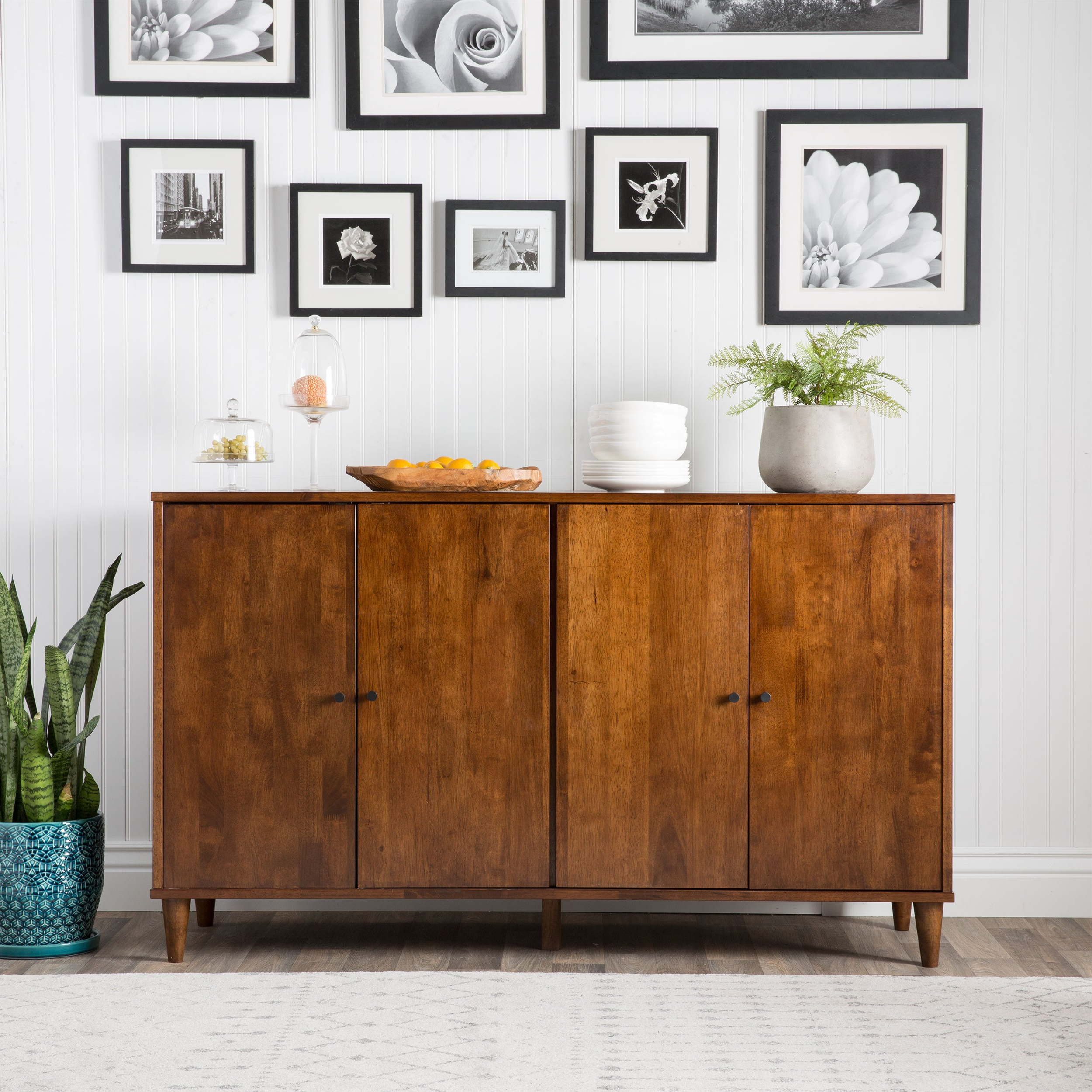 Shop Jasper Laine Vilas Tobacco Finished 4 Door Dining Buffet – On Within Preferred Walnut Finish 4 Door Sideboards (View 13 of 20)