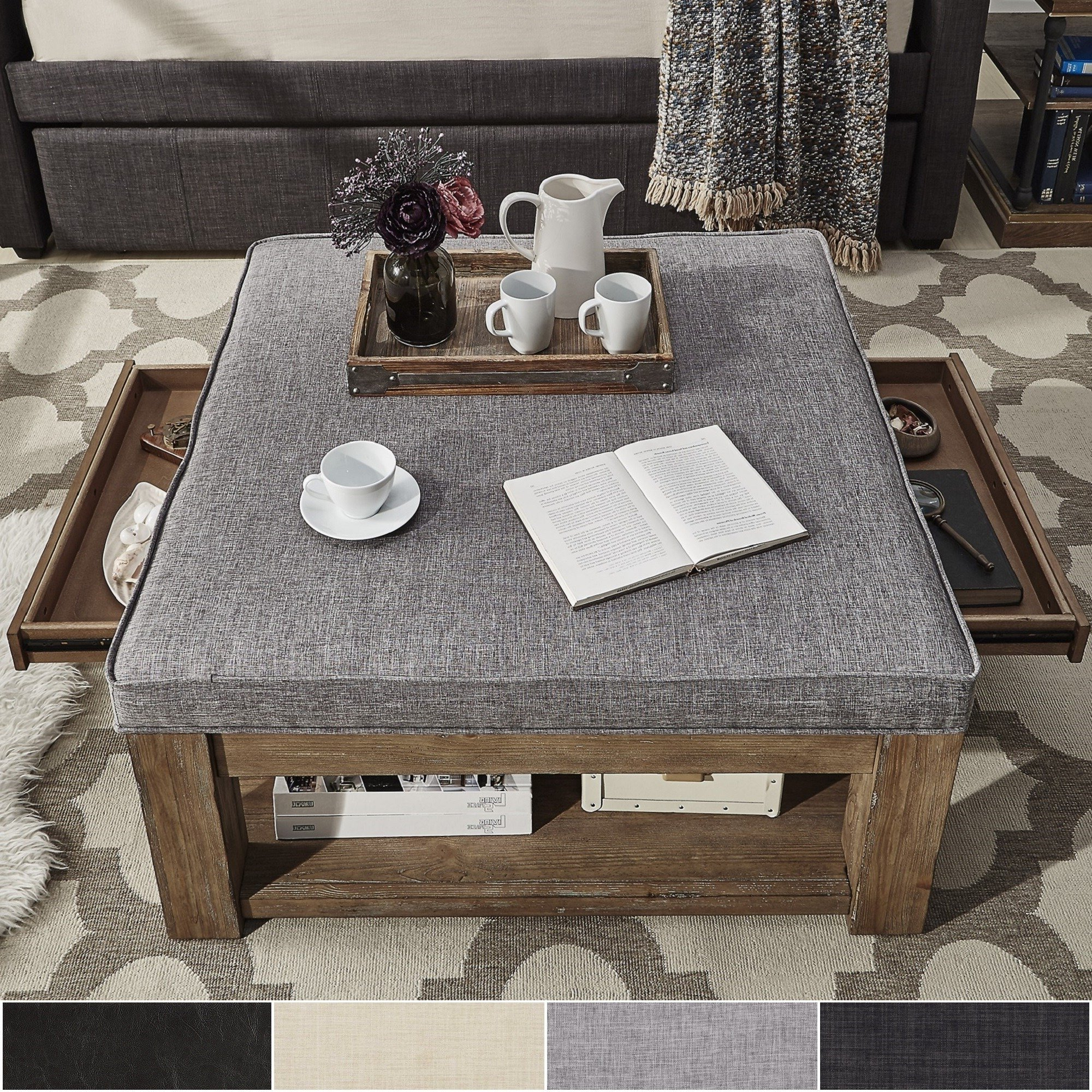 Shop Lennon Pine Square Storage Ottoman Coffee Tableinspire Q For Most Recent Disappearing Coffee Tables (View 17 of 20)