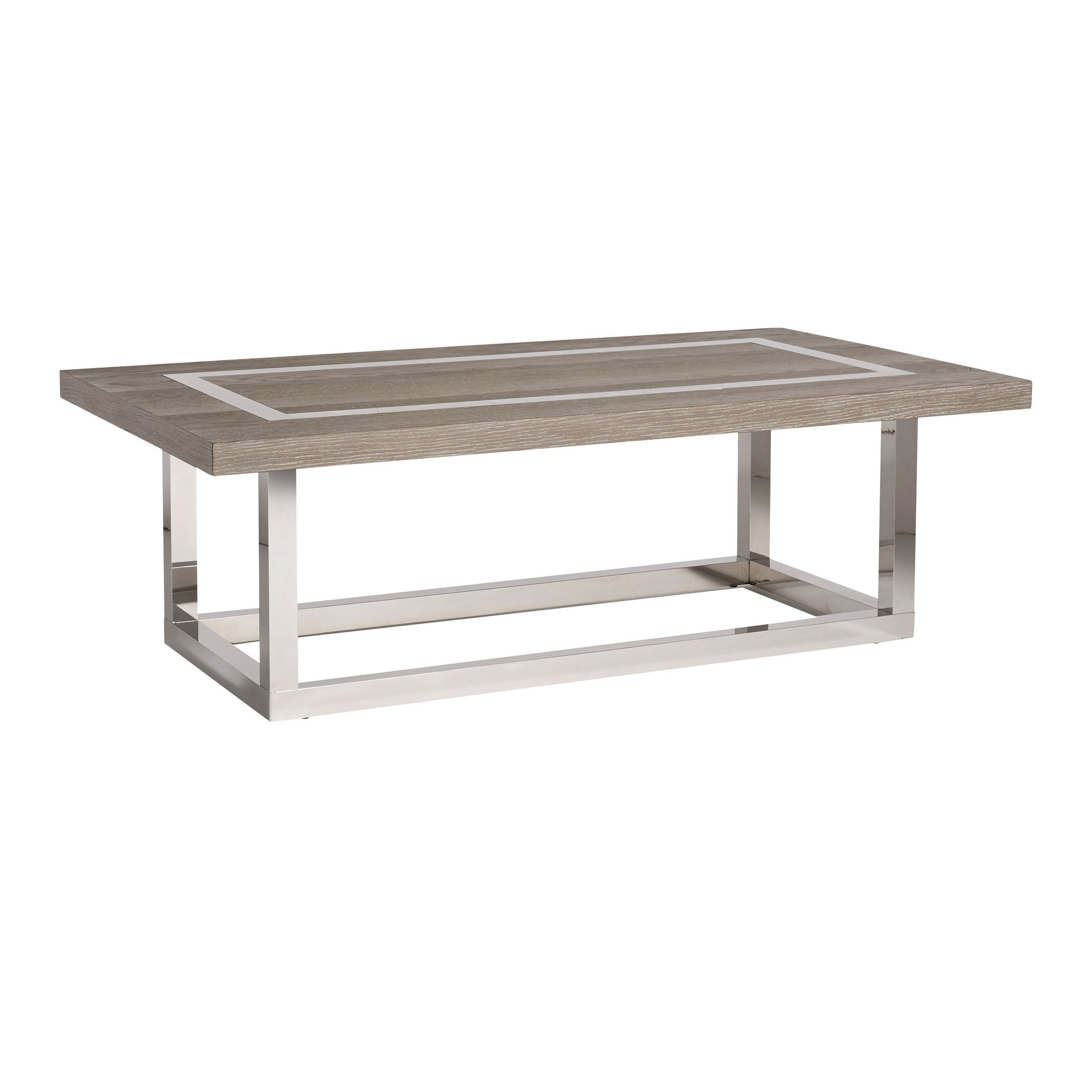 Shop Modern Flint And Stainless Steel Rectangle Wyatt Cocktail Table Inside 2019 Wyatt Cocktail Tables (View 6 of 20)