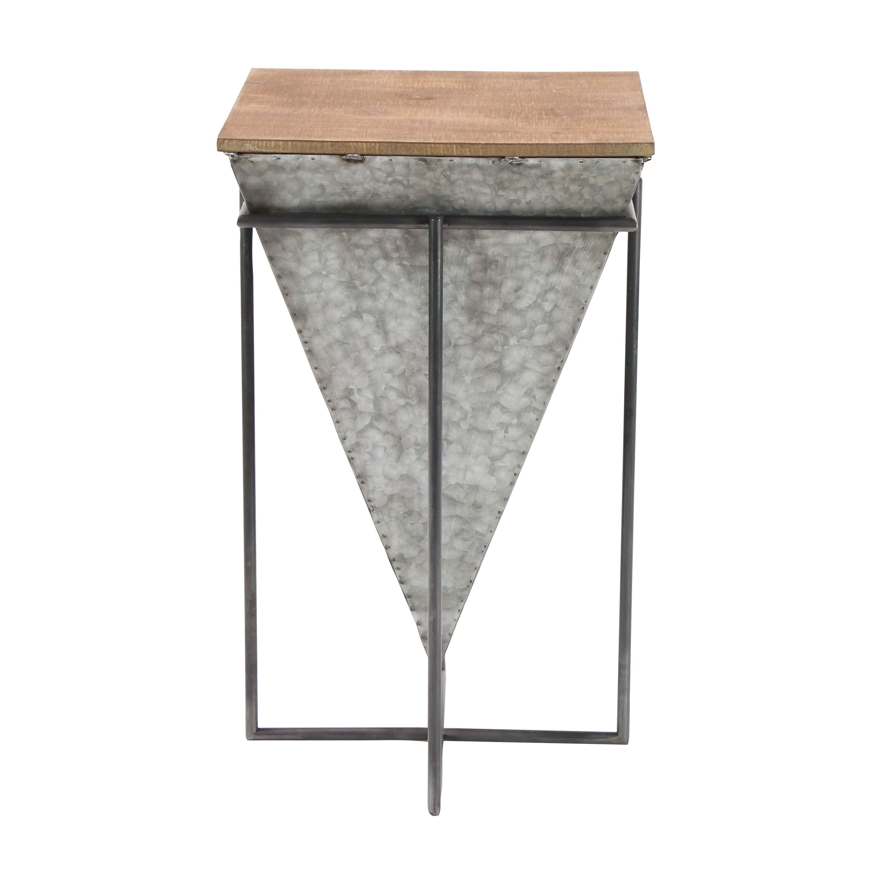 Shop Modern Inverted Pyramid Iron And Wood Accent Table – Free Regarding Most Current Inverted Triangle Coffee Tables (Gallery 3 of 20)