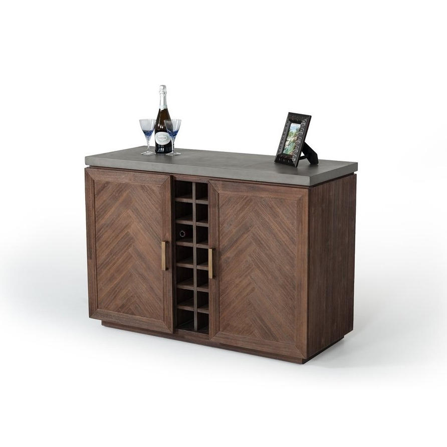 Shop Modrest Amos Modern Concrete & Acacia Wine Cabinet – On Sale For Recent Amos Buffet Sideboards (Gallery 4 of 20)