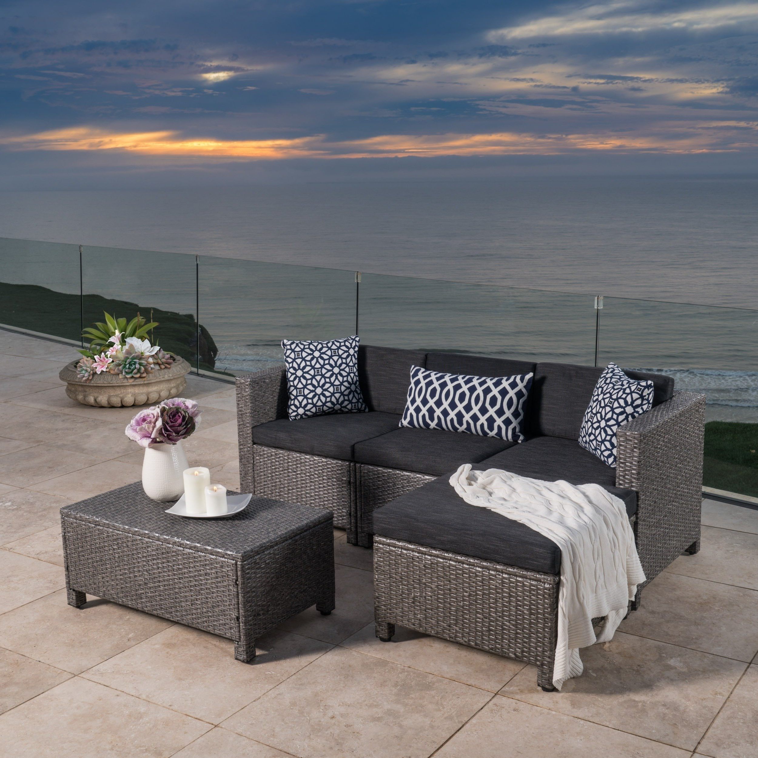 Shop Moses 5 Piece Outdoor Sofa Set – On Sale – Free Shipping Today With Regard To Most Up To Date Norfolk Grey 6 Piece Sectionals (View 17 of 20)