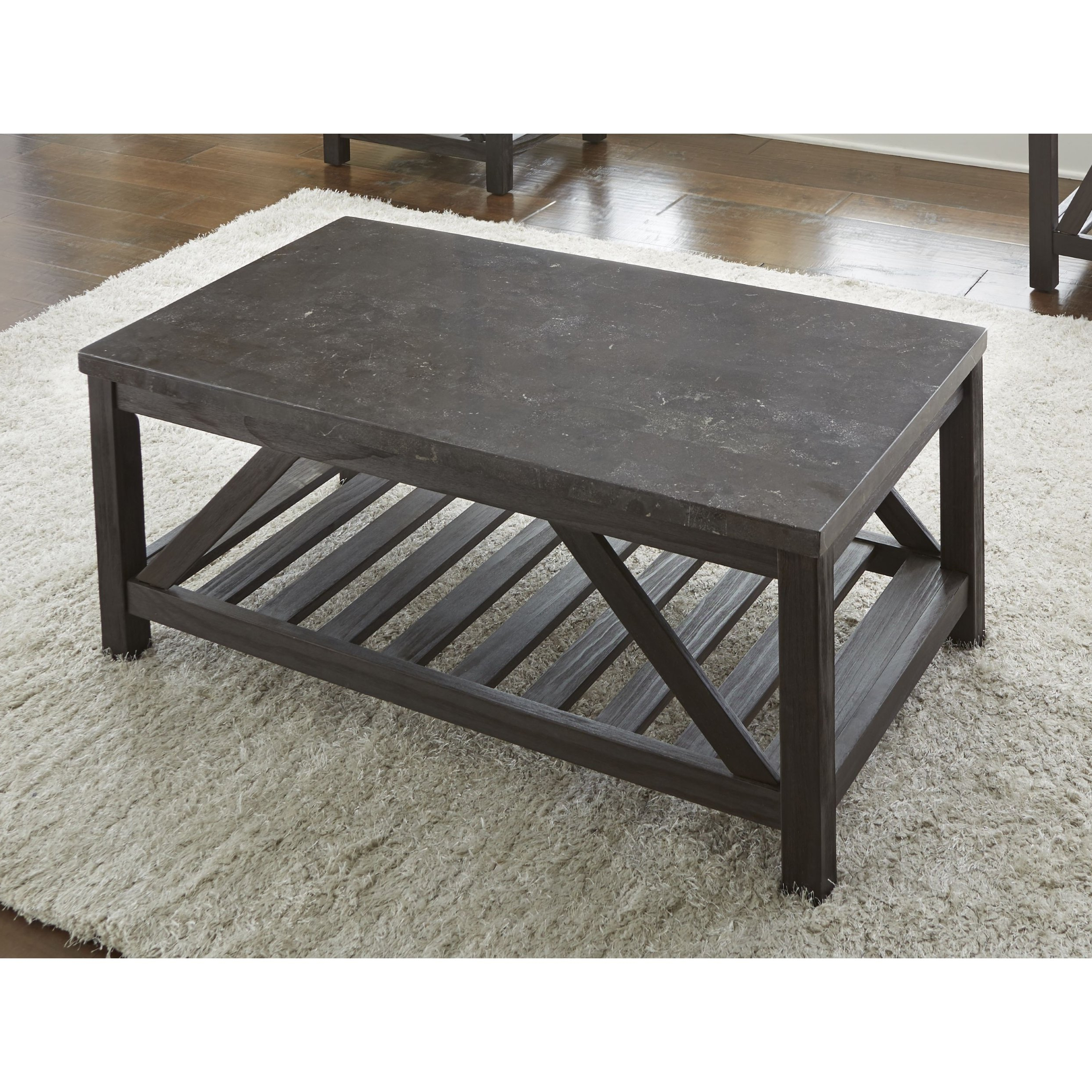 Shop New Badin 48 Inch Rectangle Coffee Table With Bluestone Top Regarding 2018 Bluestone Rustic Black Coffee Tables (View 6 of 20)