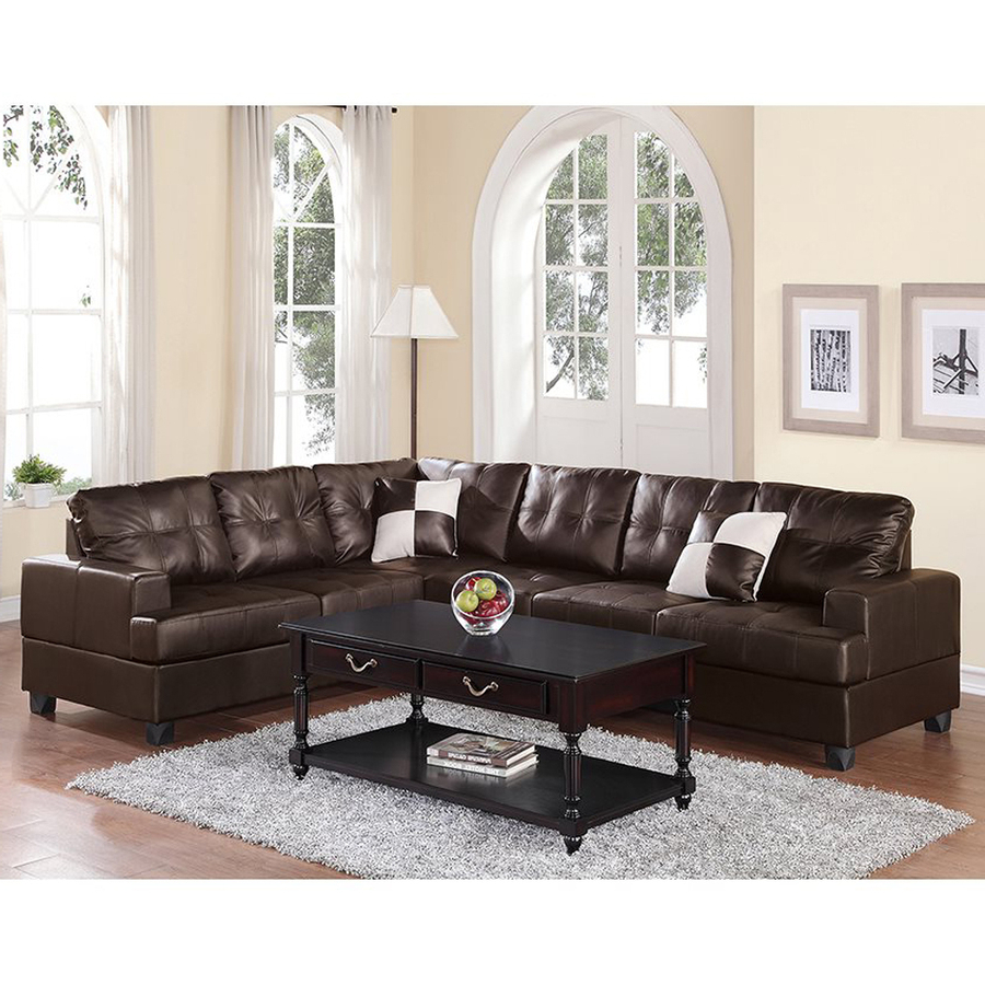 Shop Poundex Karen Casual Espresso Faux Leather Sectional At Lowes Pertaining To Widely Used Karen 3 Piece Sectionals (View 16 of 20)