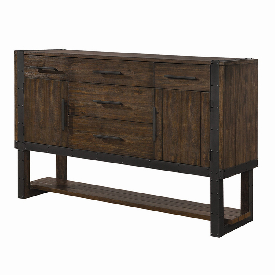 Shop Scott Living Vintage Bourbon Metal Acacia Sideboard At Lowes Inside Popular Vintage Brown Textured Sideboards (Gallery 2 of 20)