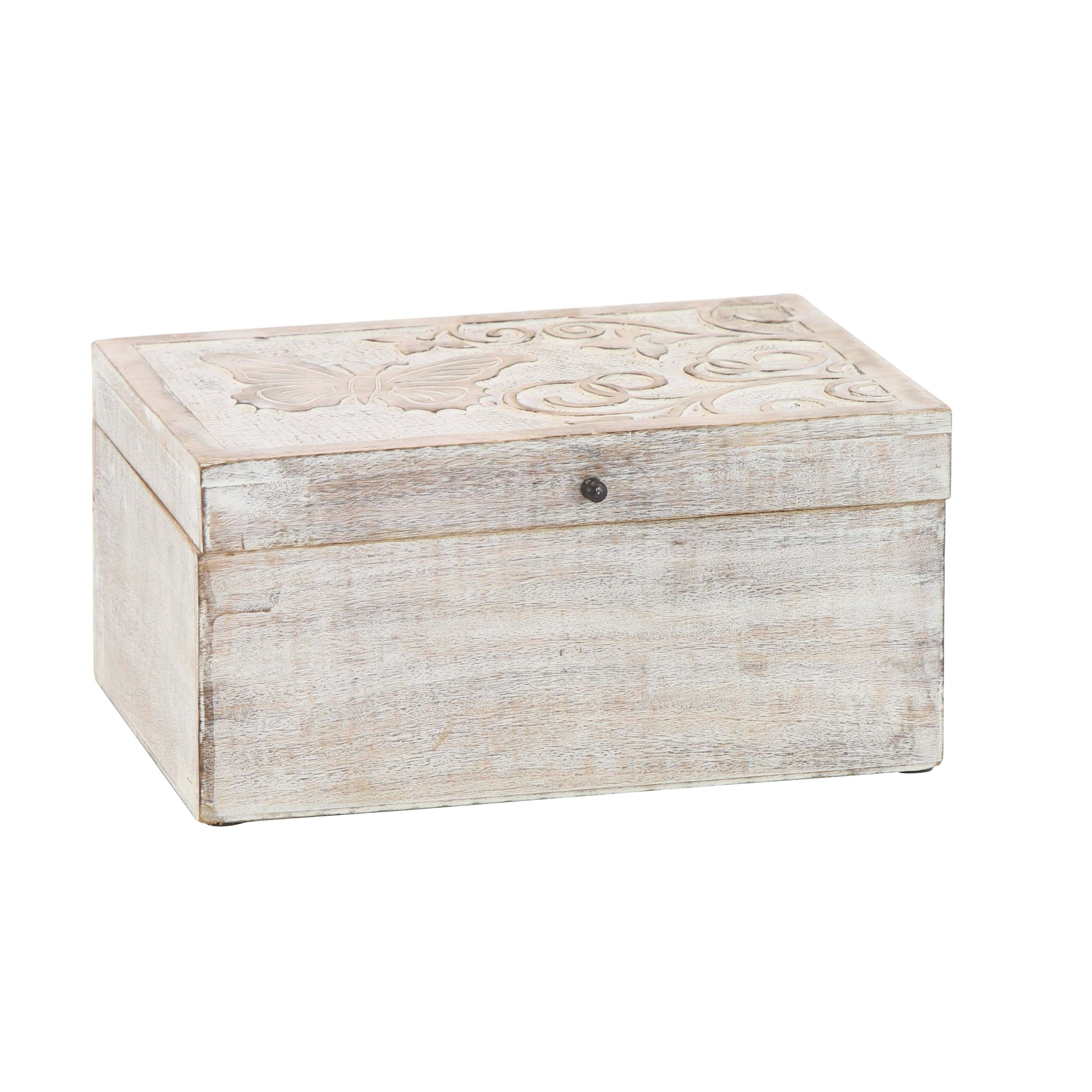 Shop Set Of 3 Natural Mango Wood Carved Whitewashed Boxes With Lid In Trendy White Wash Carved Door Jumbo Sideboards (View 16 of 20)
