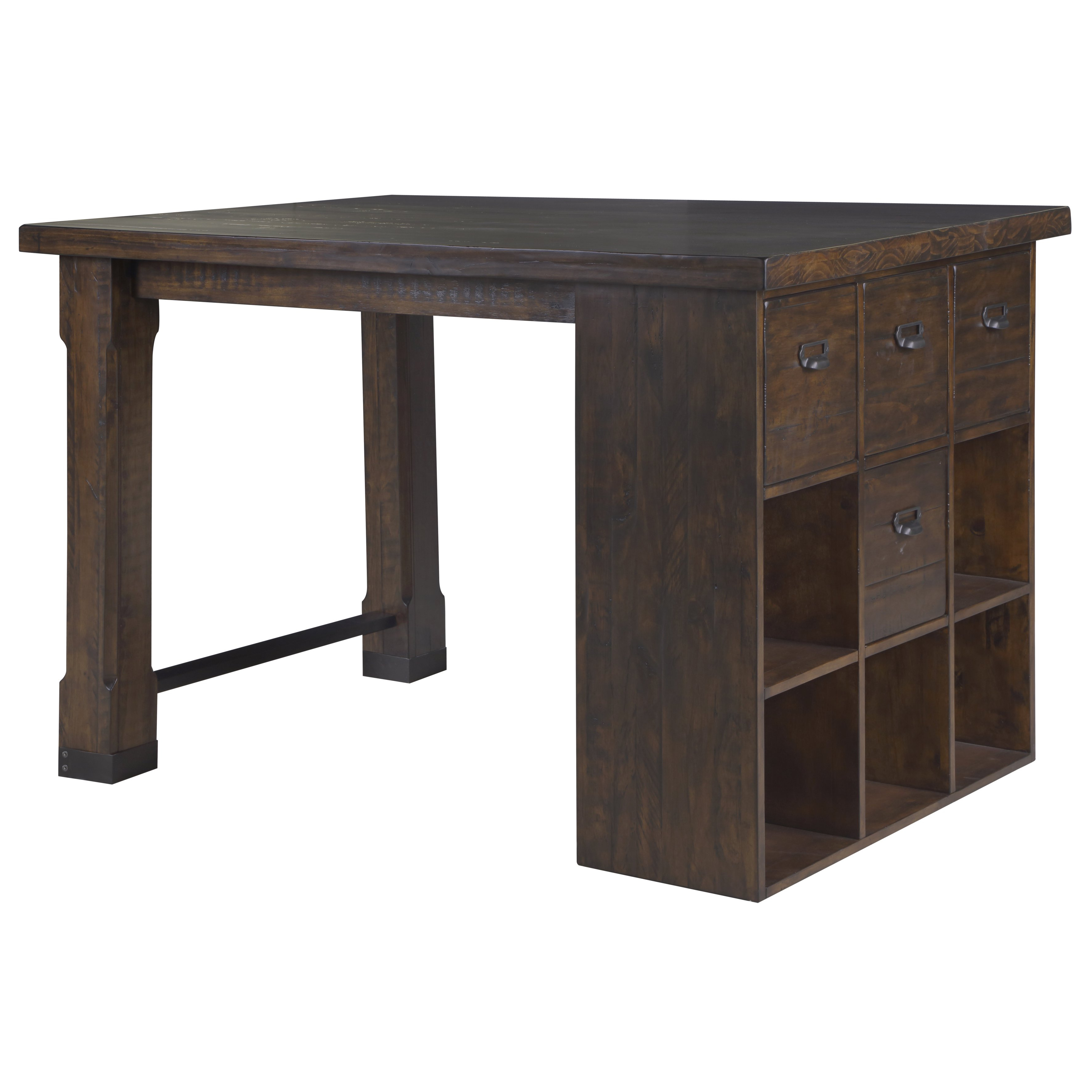 Shop Silver Orchid Bowers Asymmetrical Counter Height Desk With Cube For Preferred Bale Rustic Grey Round Cocktail Tables With Storage (View 14 of 20)