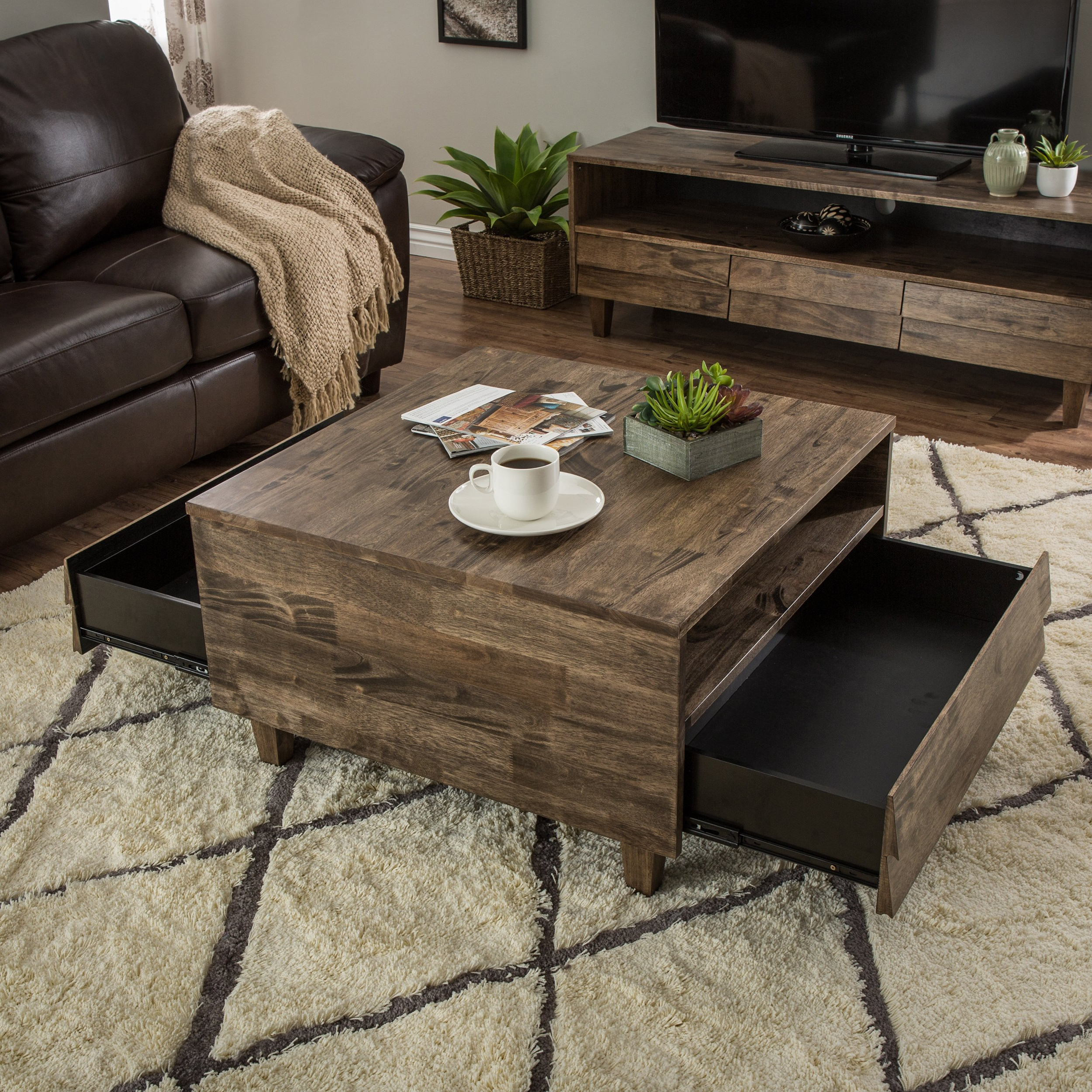 Shop Stones & Stripes Venetian 2 Way 2 Drawer Brown/grey Coffee Inside Most Popular Natural 2 Drawer Shutter Coffee Tables (View 17 of 20)