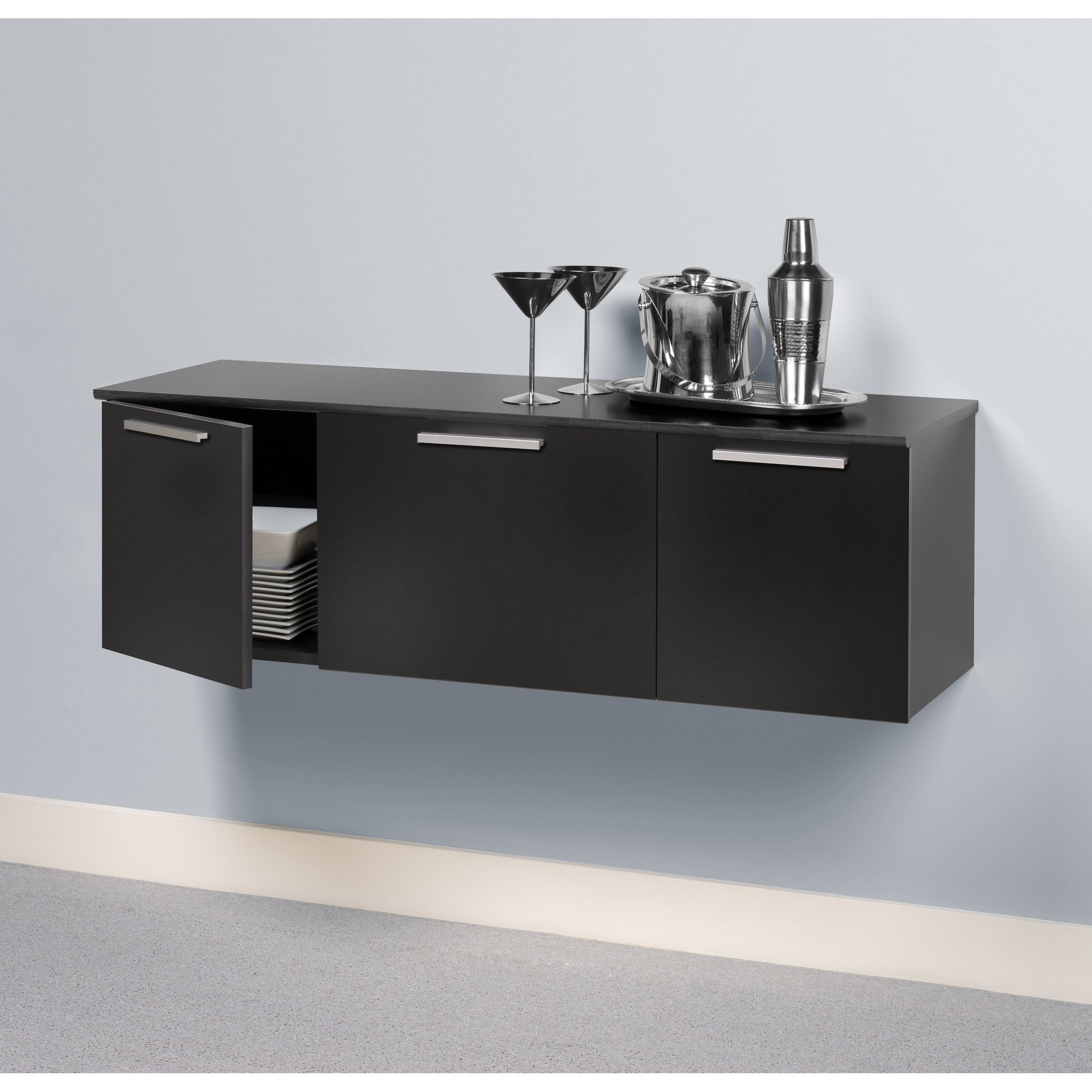 Shop Yaletown Black Wall Mounted Buffet – Free Shipping Today In Most Current Corrugated White Wash Sideboards (View 19 of 20)