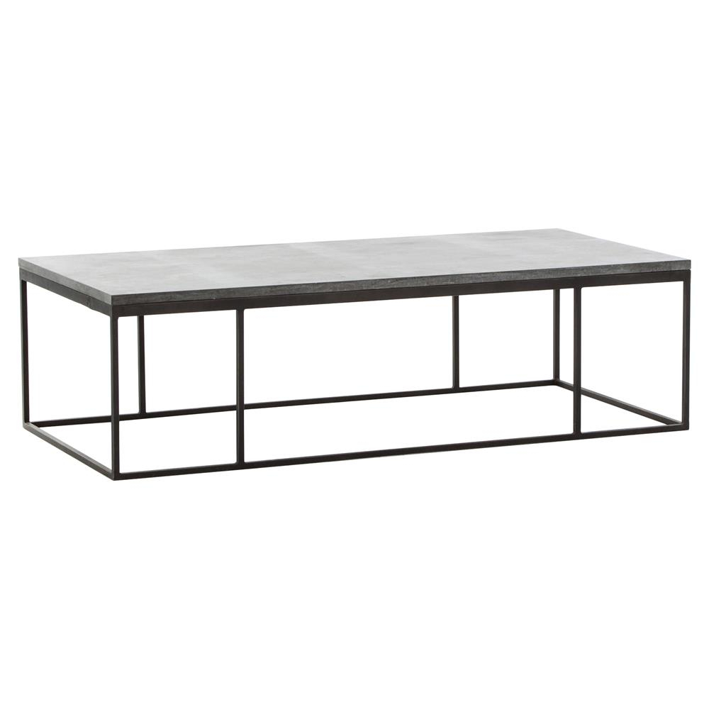 Shuler Industrial Loft Iron Bluestone Rectangular Coffee Table In Famous Bluestone Rustic Black Coffee Tables (View 15 of 20)