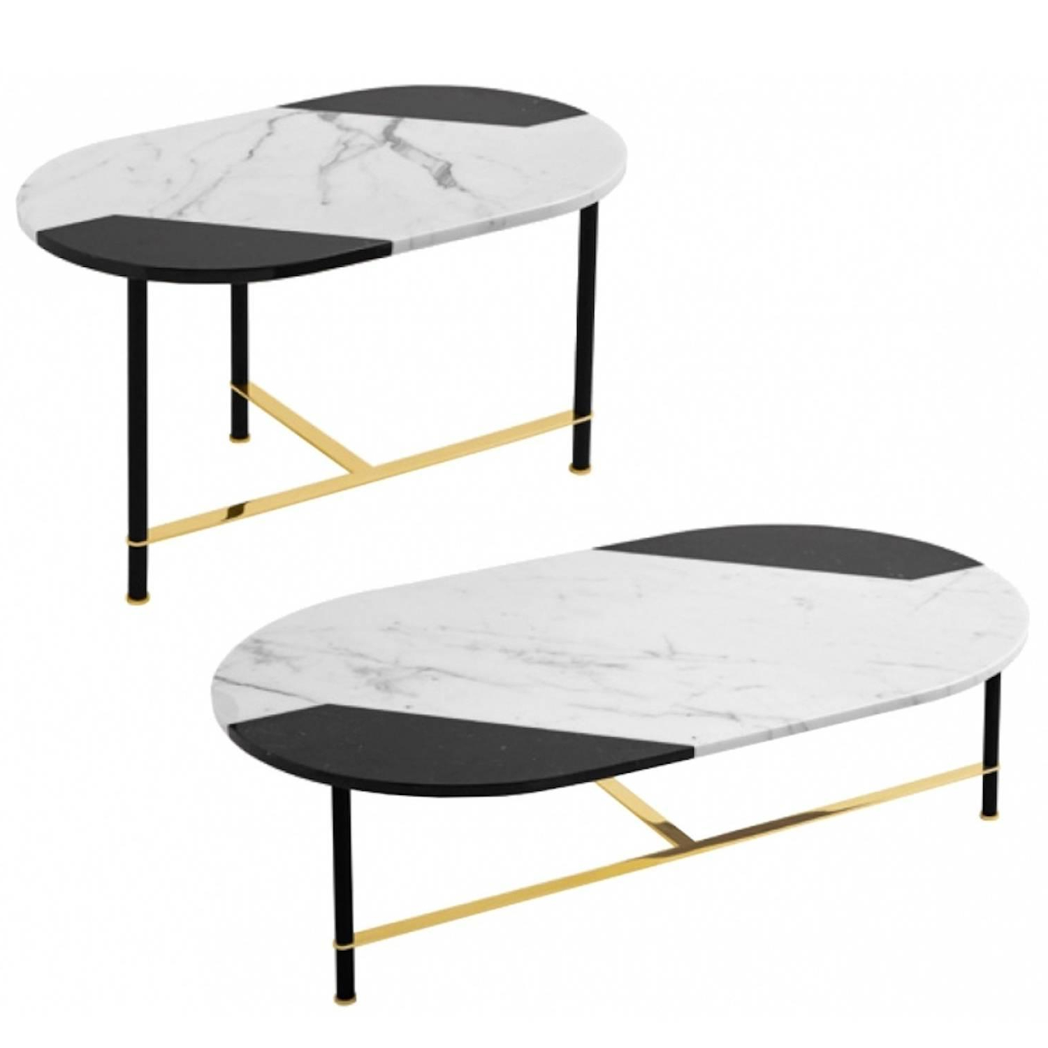 Smart Round Marble Brass Coffee Tables With Regard To 2019 Coffee Table Or Side Table In Black And White Inlaid Marble Top With (View 15 of 20)