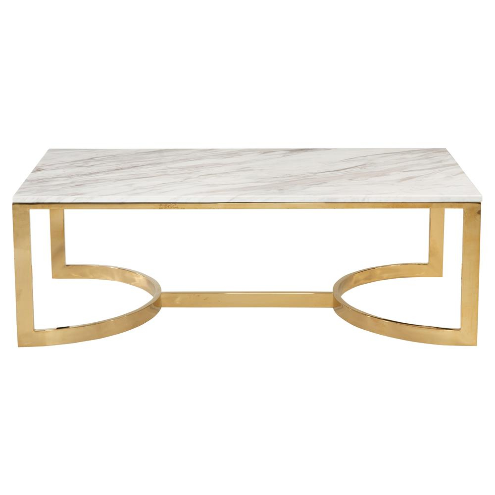 Smart Round Marble Brass Coffee Tables With Regard To Most Up To Date Nata Hollywood White Marble Brass Horse Shoe Coffee Table (View 15 of 20)