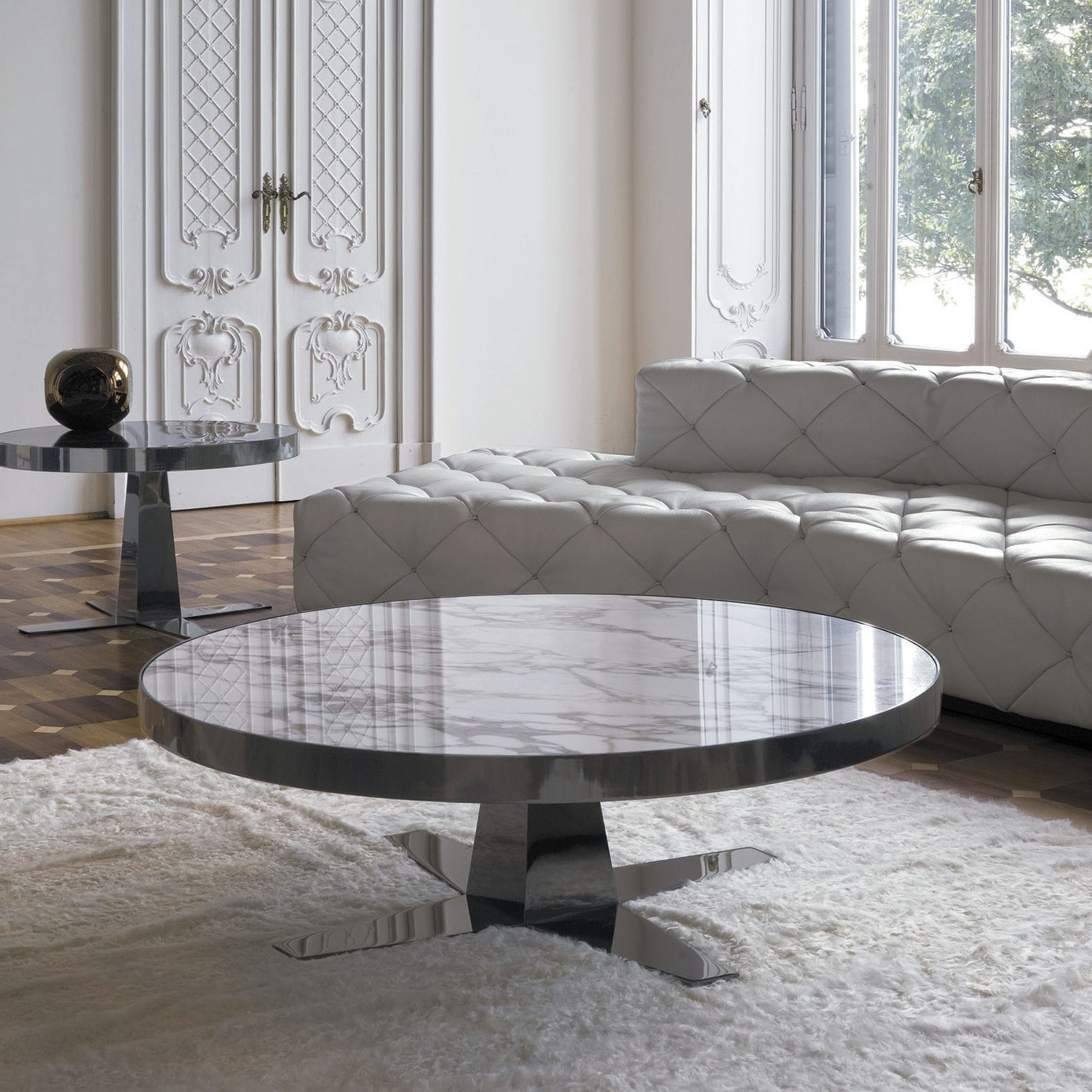 Smart Round Marble Top Coffee Tables Inside Most Up To Date Coffee Table: Smart Round Marble Coffee Table At Your Room Ideas (View 16 of 20)