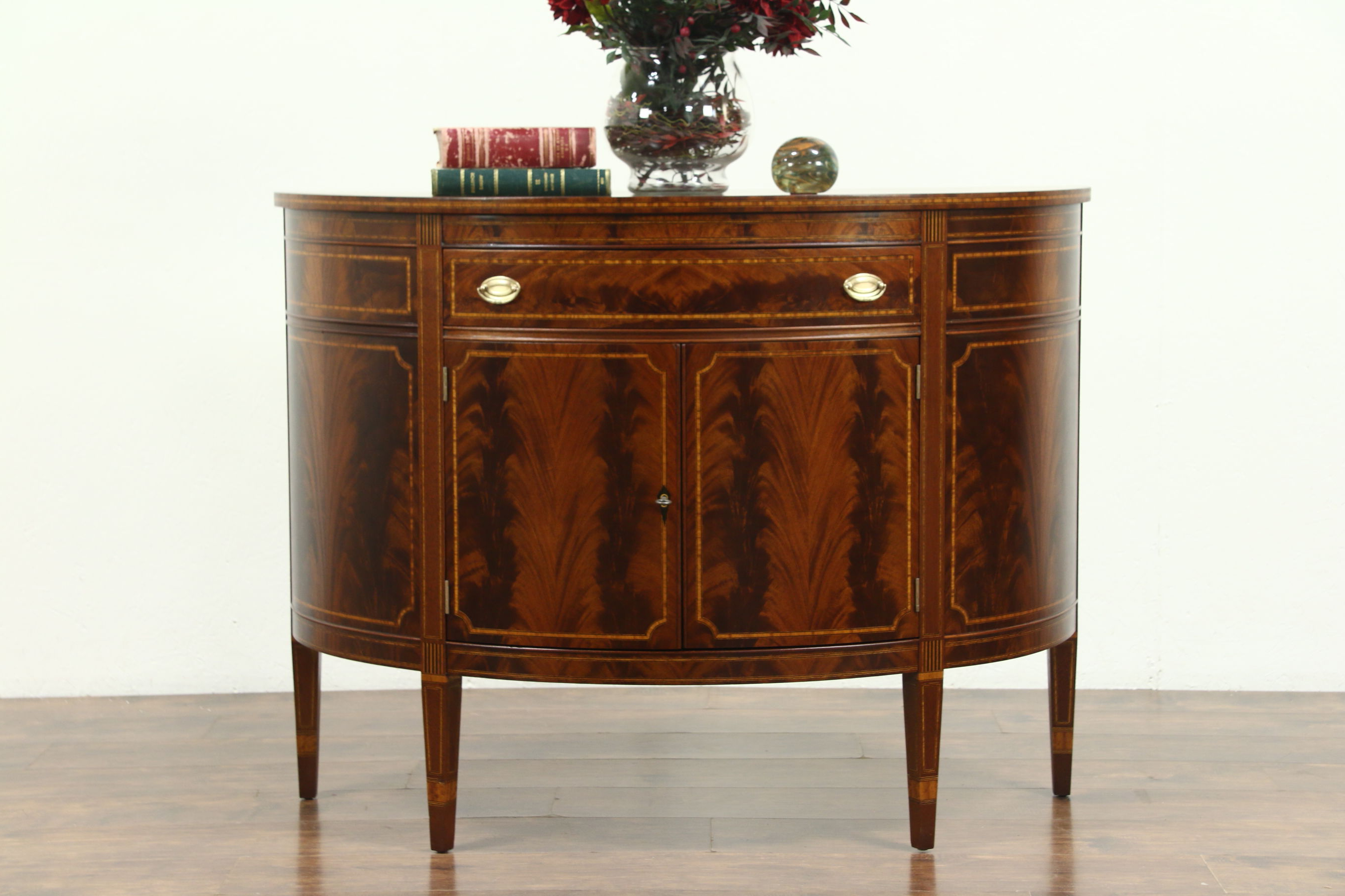 Sold – Demilune Half Round Vintage Sideboard Or Console Cabinet For Well Liked Vintage Brown Textured Sideboards (View 8 of 20)