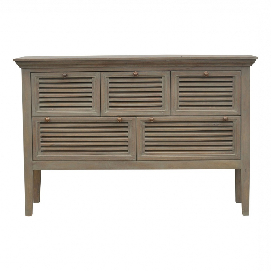 Solid Grey Washed Oak Finished Mango Wood Country 5 Drawer Sideboard With Regard To Well Liked Mango Wood Grey 4 Drawer 4 Door Sideboards (Gallery 10 of 20)