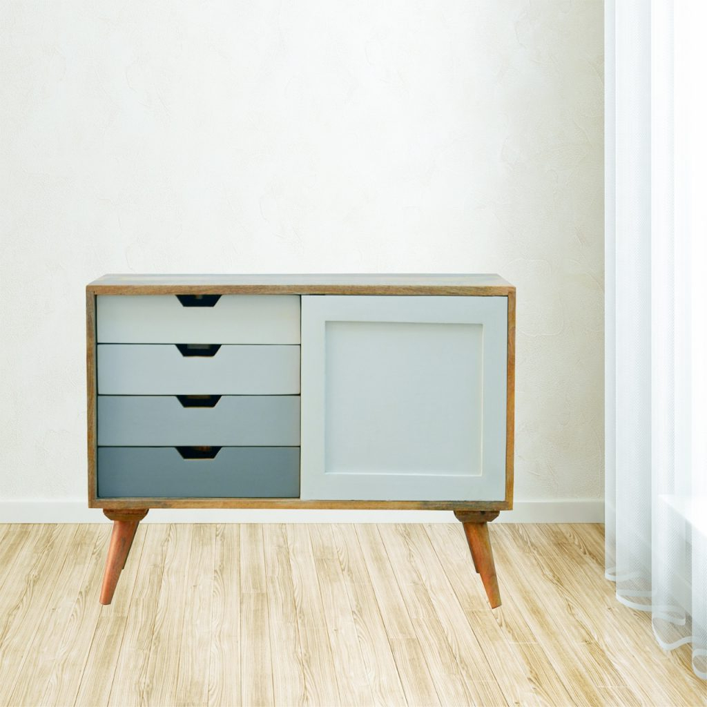Solid Mango Wood Graduated Two Tone 4 Drawer 1 Door Cabinet – Nico With Regard To Widely Used Mango Wood Grey 4 Drawer 4 Door Sideboards (View 15 of 20)