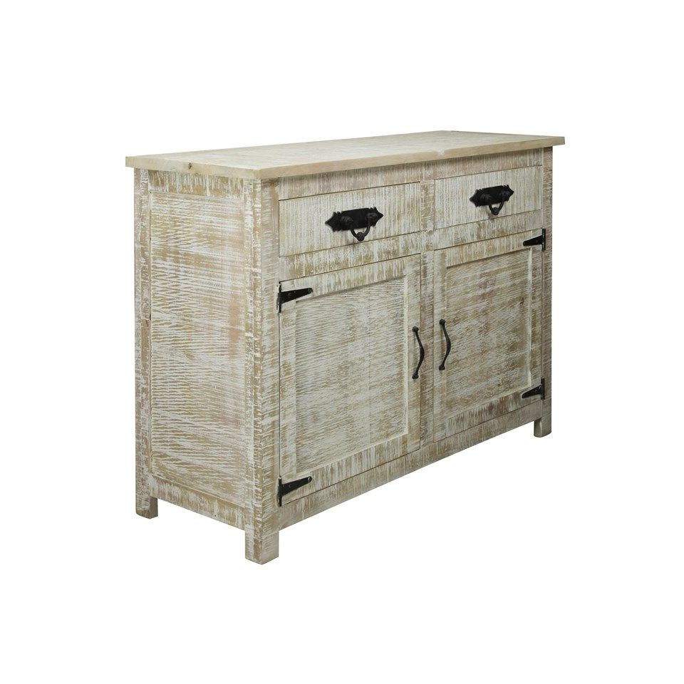 Solid Mango Wood Sideboard In Distressed White Wash Finish (View 3 of 20)