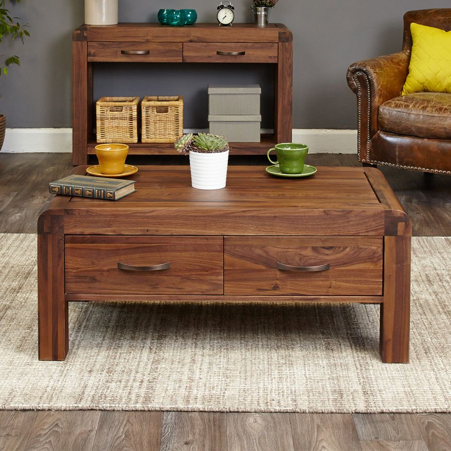 Solid Walnut Coffee Table With 4 Drawers – Shiro Walnut Throughout Latest Walnut 4 Drawer Coffee Tables (View 15 of 20)
