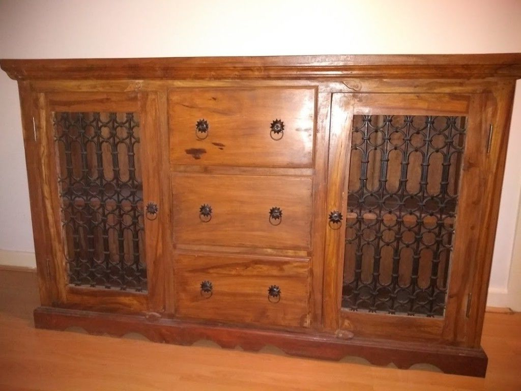 Solid Wood Sheesham Jali Sideboard, With 3 Drawers And 2 Cupboards Regarding Widely Used 4 Door/4 Drawer Cast Jali Sideboards (View 9 of 20)