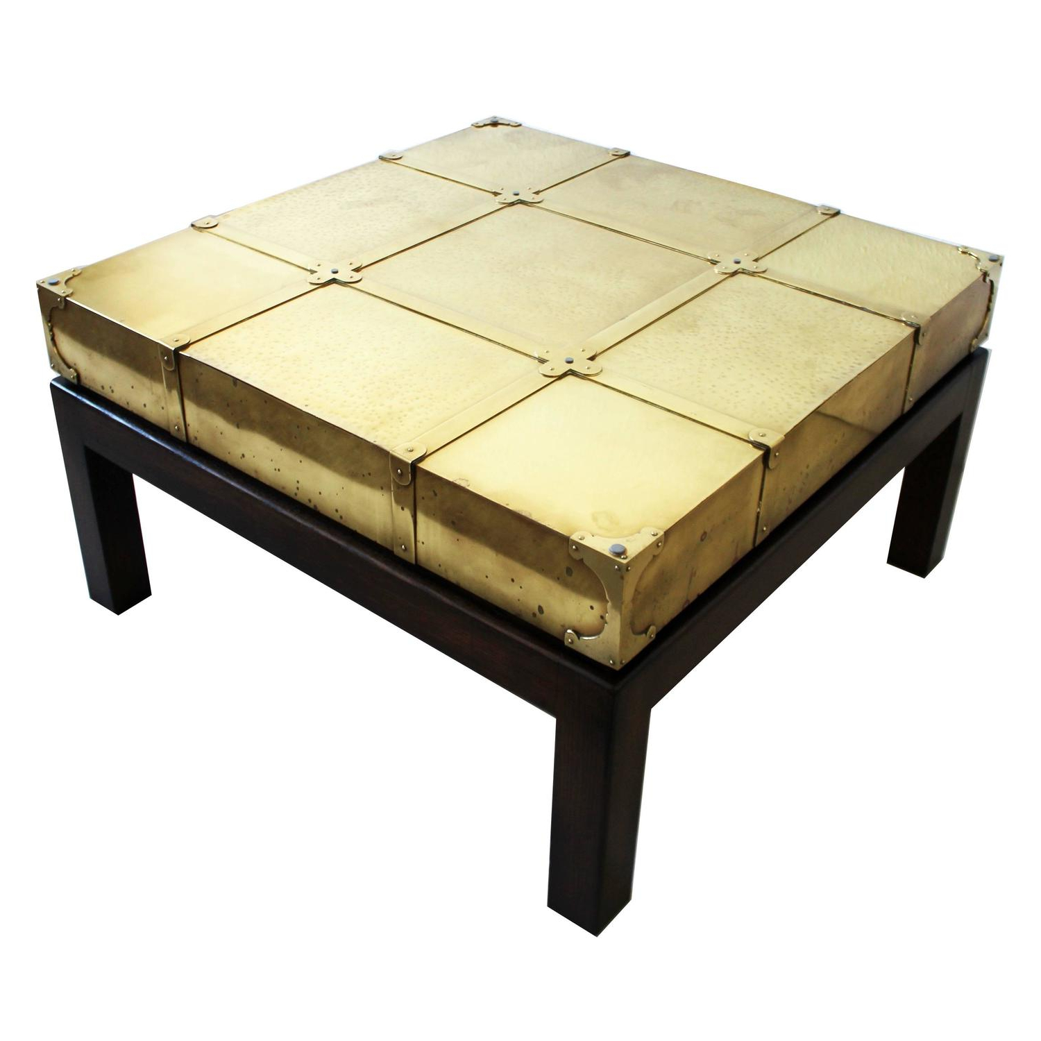 Spanish Coffee Tables In Famous Signed Sarreid Brass Coffee Table Walnut Wood Base Glass Top Spain (View 13 of 20)
