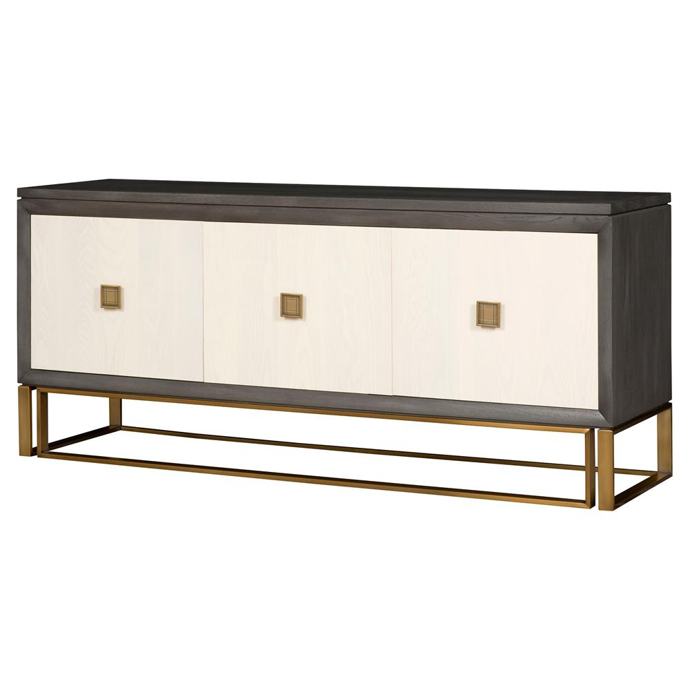 Square Brass 4 Door Sideboards Intended For Fashionable Vanguard Wallace Modern Classic Ash Solids Stain Brass 3 Door Sideboard (View 14 of 20)