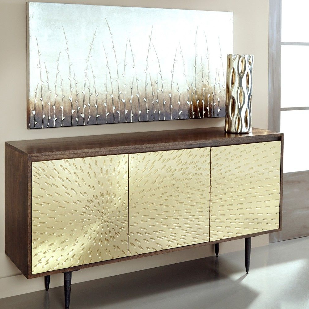 Square Brass 4 Door Sideboards Pertaining To Most Current Wood & Brass Three Door Sideboard In Dark Mangocoast To Coast (View 15 of 20)