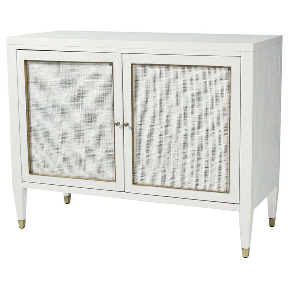 Square Brass 4 Door Sideboards Pertaining To Most Recent Jaden Modern Classic White Rattan Brass 2 Door Bar Cabinet Buffet (View 20 of 20)