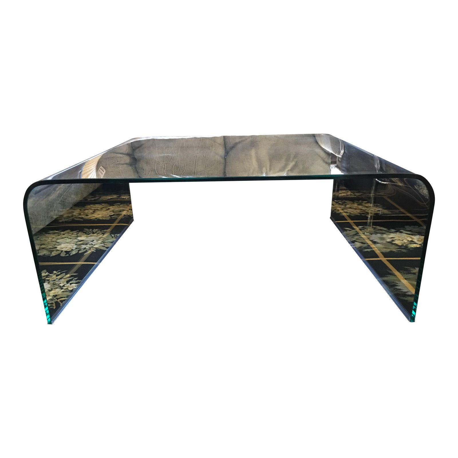 Square Glass Waterfall Coffee Table 2702 – Design Plus Gallery Inside Most Current Square Waterfall Coffee Tables (View 17 of 20)