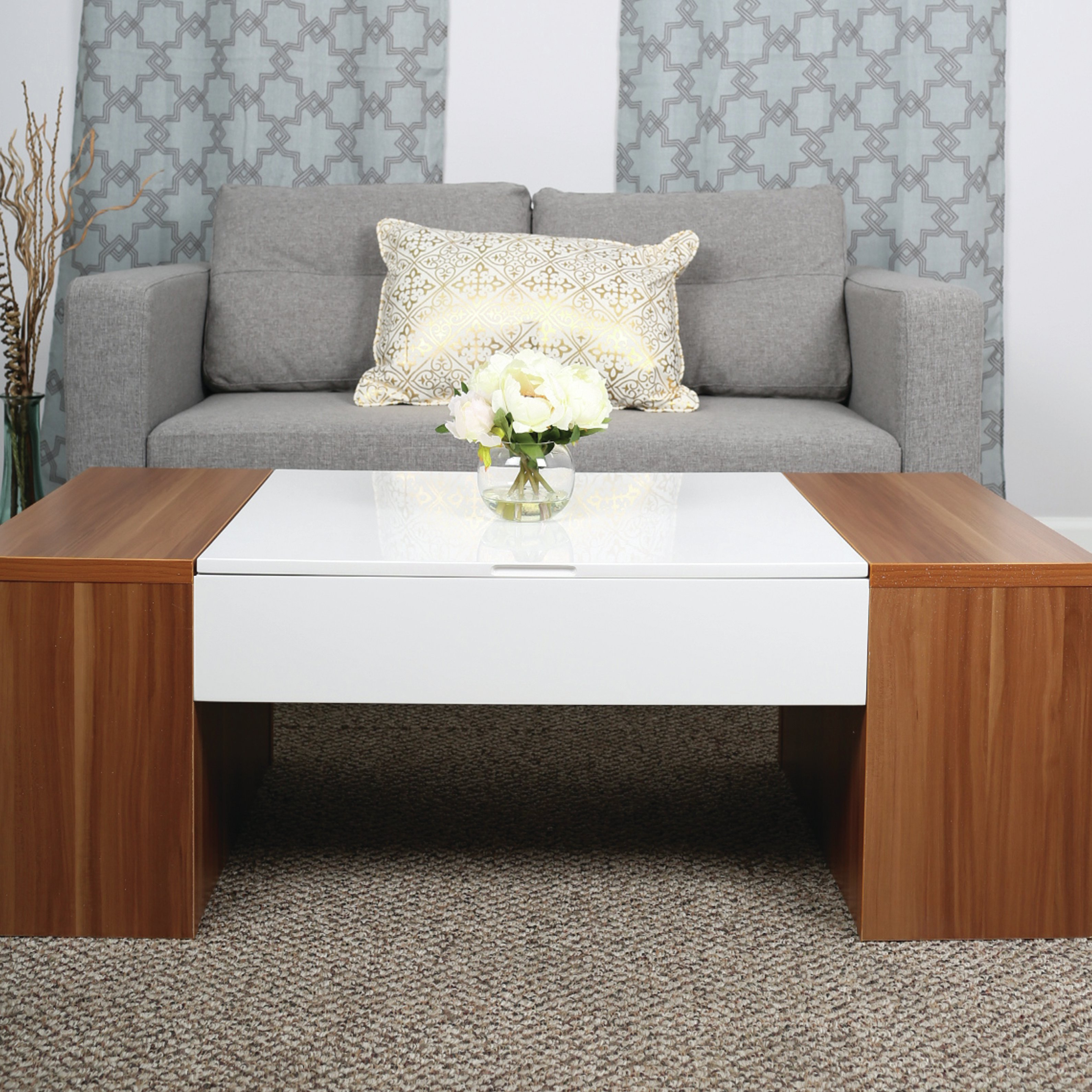 Stack Hi Gloss Wood Coffee Tables Regarding Fashionable Mix Lift Top Coffee Table & Reviews (View 14 of 20)