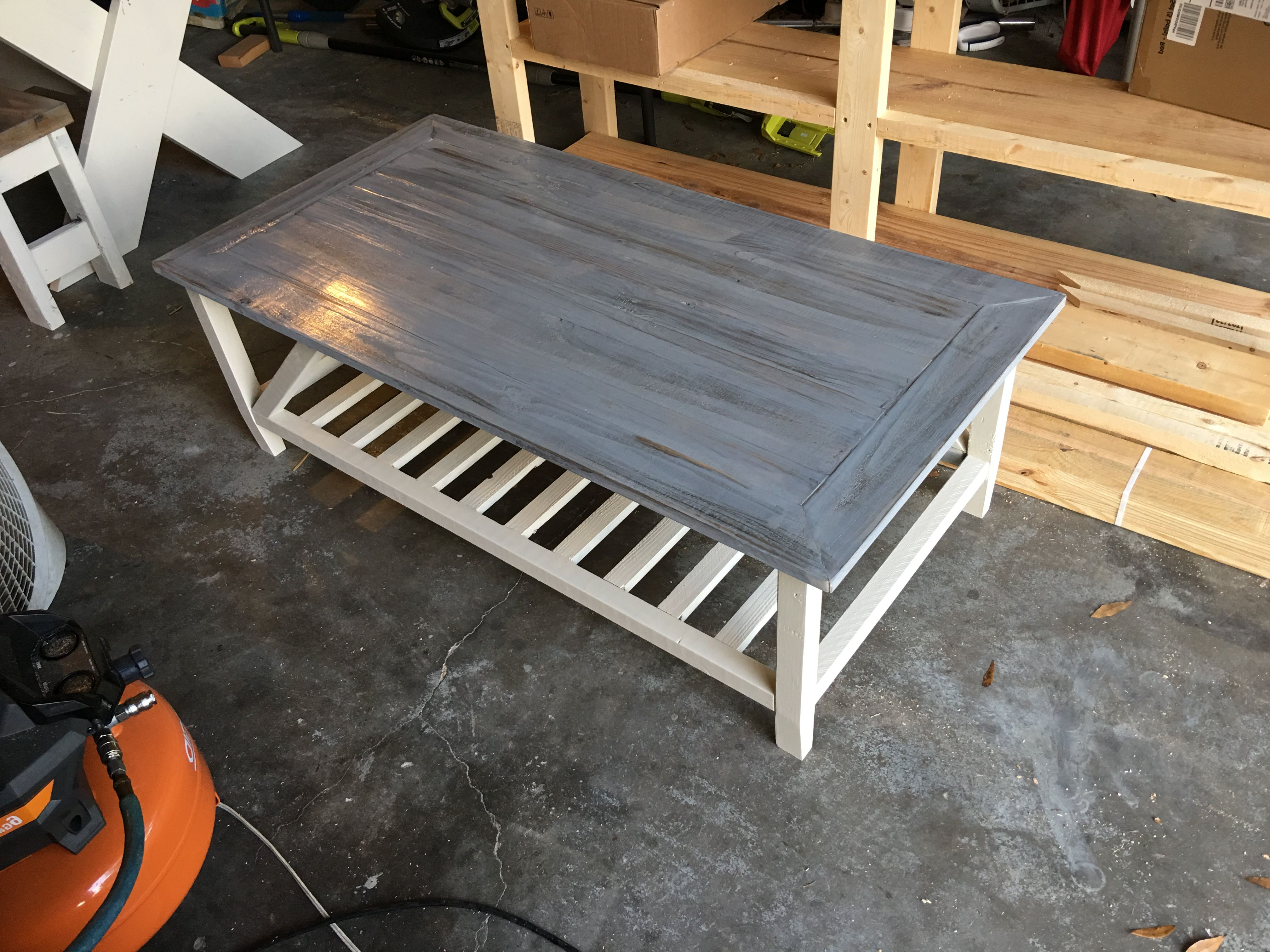 Stack Hi Gloss Wood Coffee Tables Throughout Popular 2' X 4' Coffee Table W A Dark Jacobean Base Stain And A Grey Top (View 9 of 20)