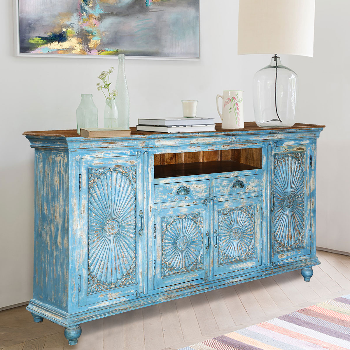 Starburst 3 Door Sideboards Inside Most Popular Sky Blue Starburst Handcrafted Mango Wood 2 Drawer Buffet Cabinet (View 11 of 20)