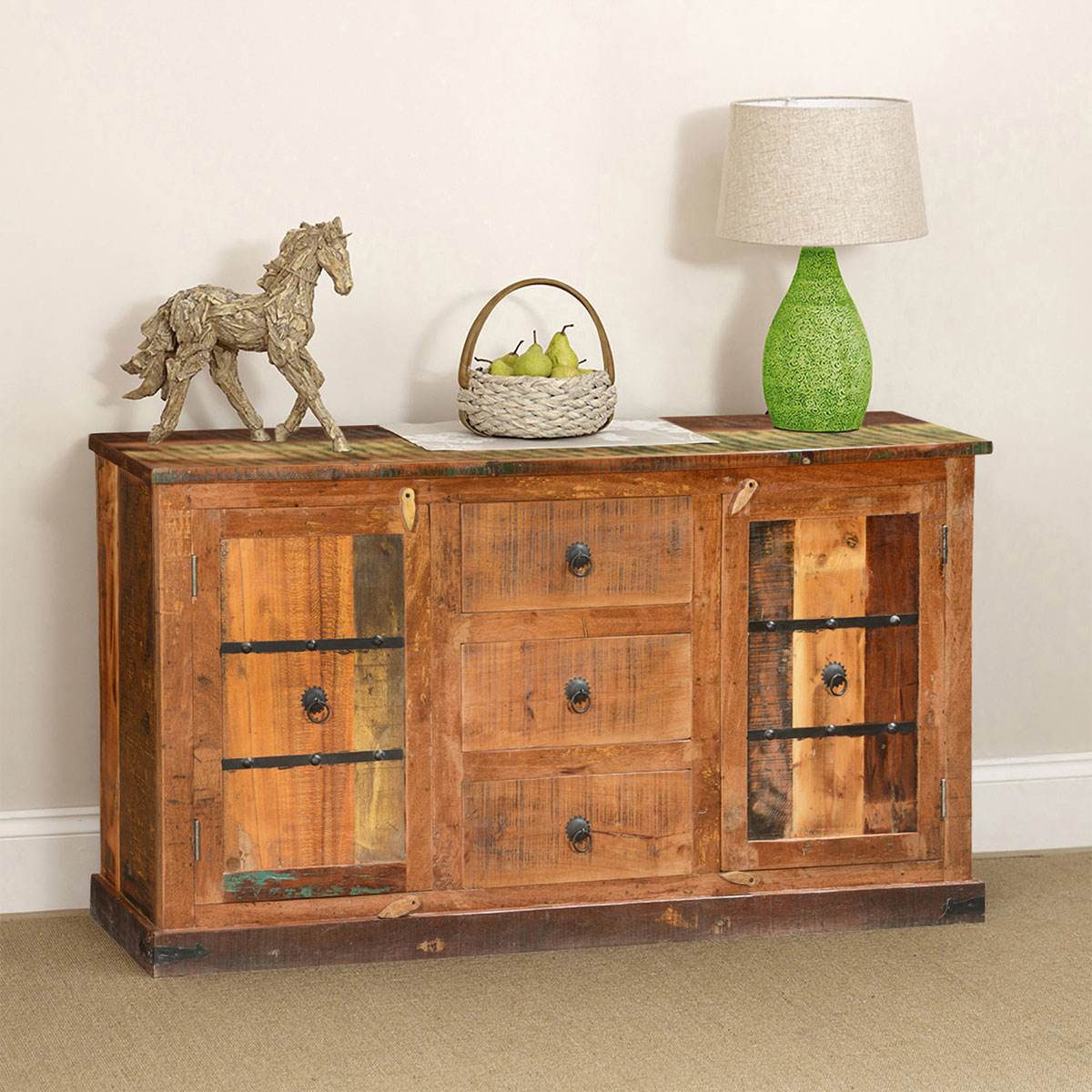 Starburst 3 Door Sideboards With Well Known Classic Country Rustic Reclaimed Wood 3 Drawer Sideboard Cabinet (View 3 of 20)
