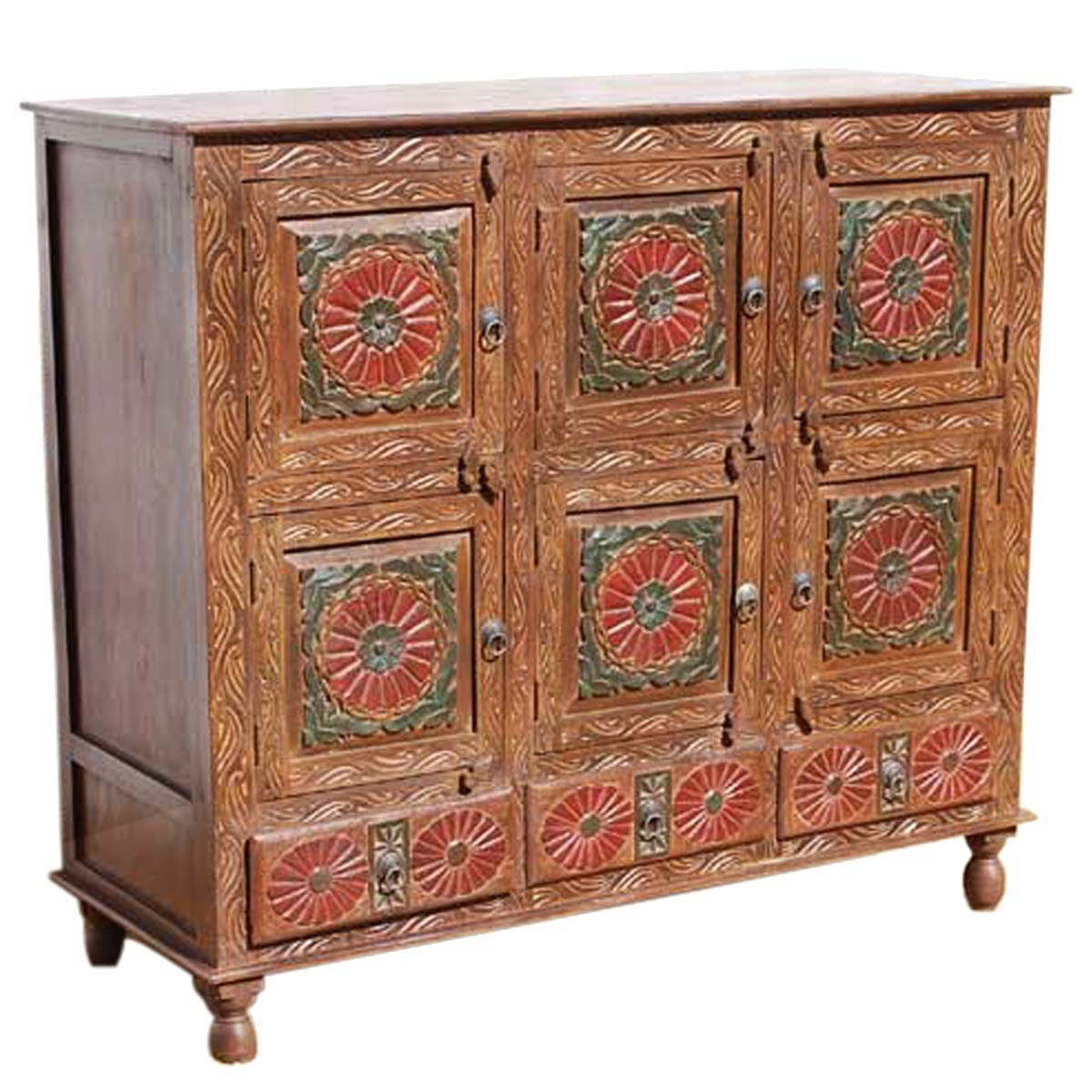 Starburst 3 Door Sideboards Within Favorite Chicago Red Poppy Handcarved 9 Compartment 3 Drawer Sideboard (View 7 of 20)